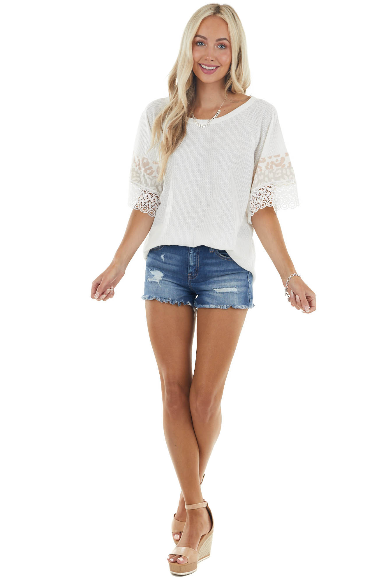 Ivory Leopard Print Short Sleeve Waffle Knit Top with Lace