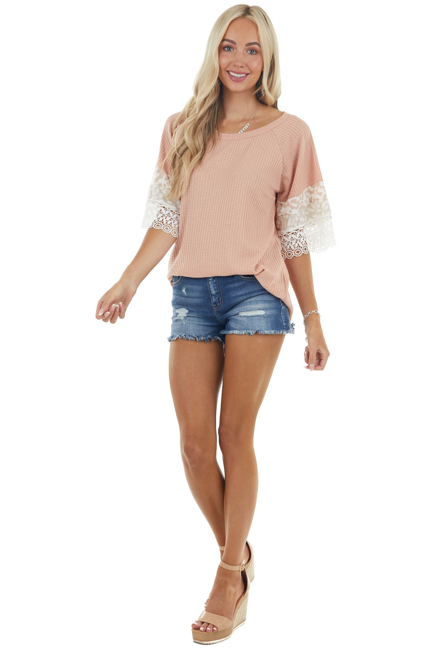 Apricot Leopard Print Short Sleeve Waffle Knit Top with Lace