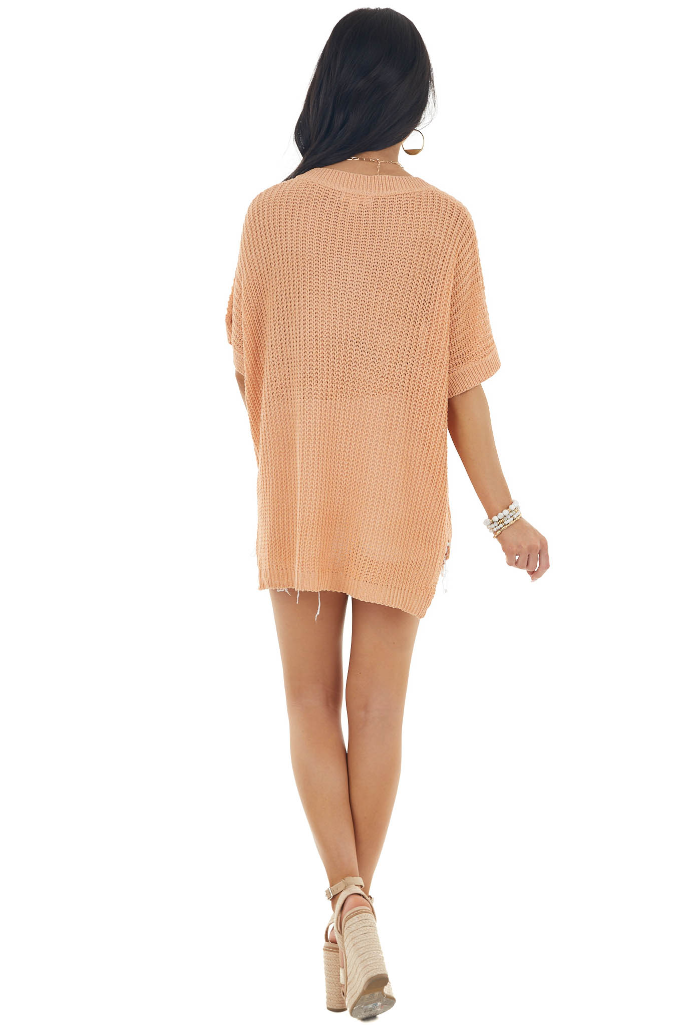 Melon Short Sleeve Loose Knit Sweater with Front Pocket