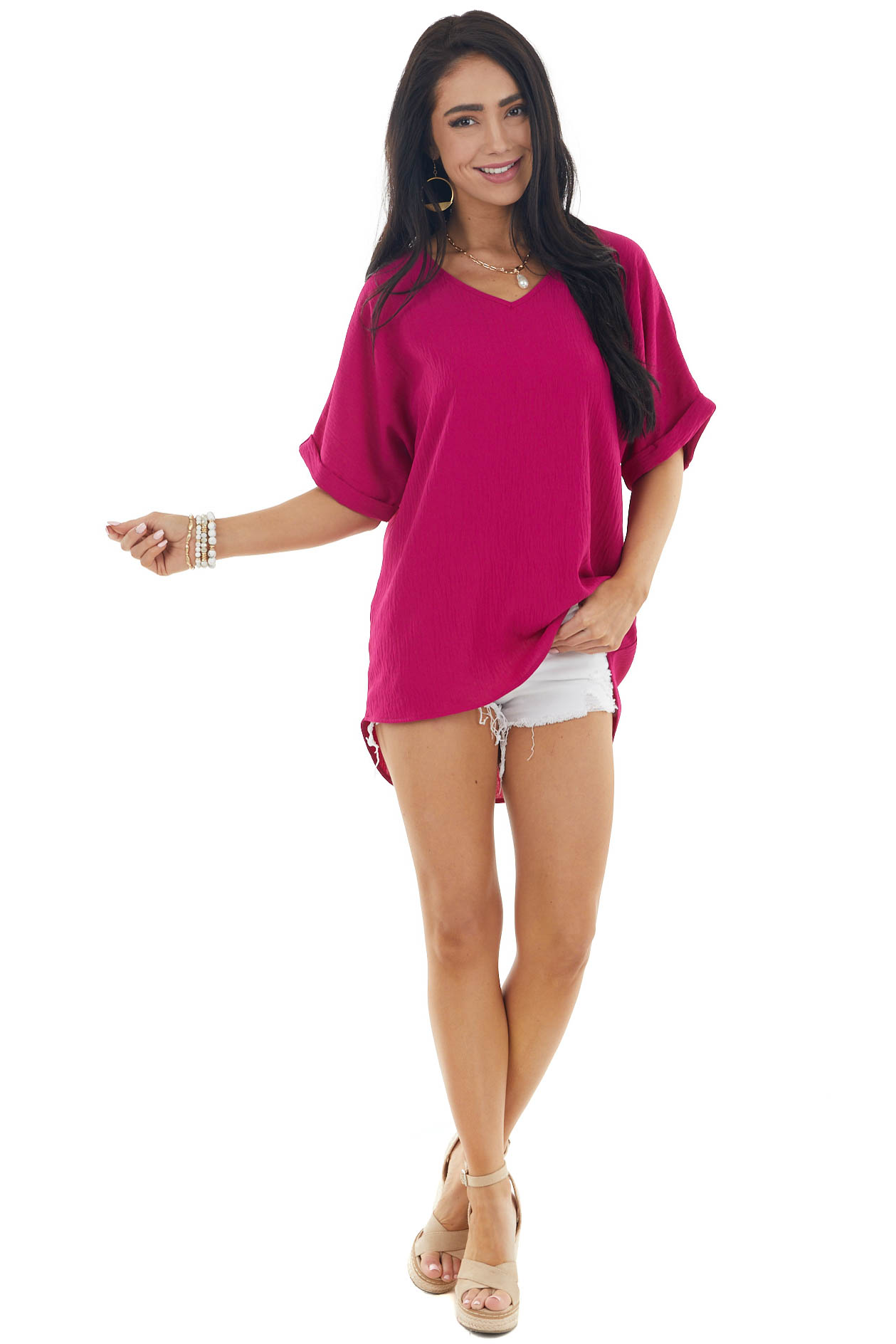 Vivid Berry Short Sleeve V Neck Woven Top with High Low Hem