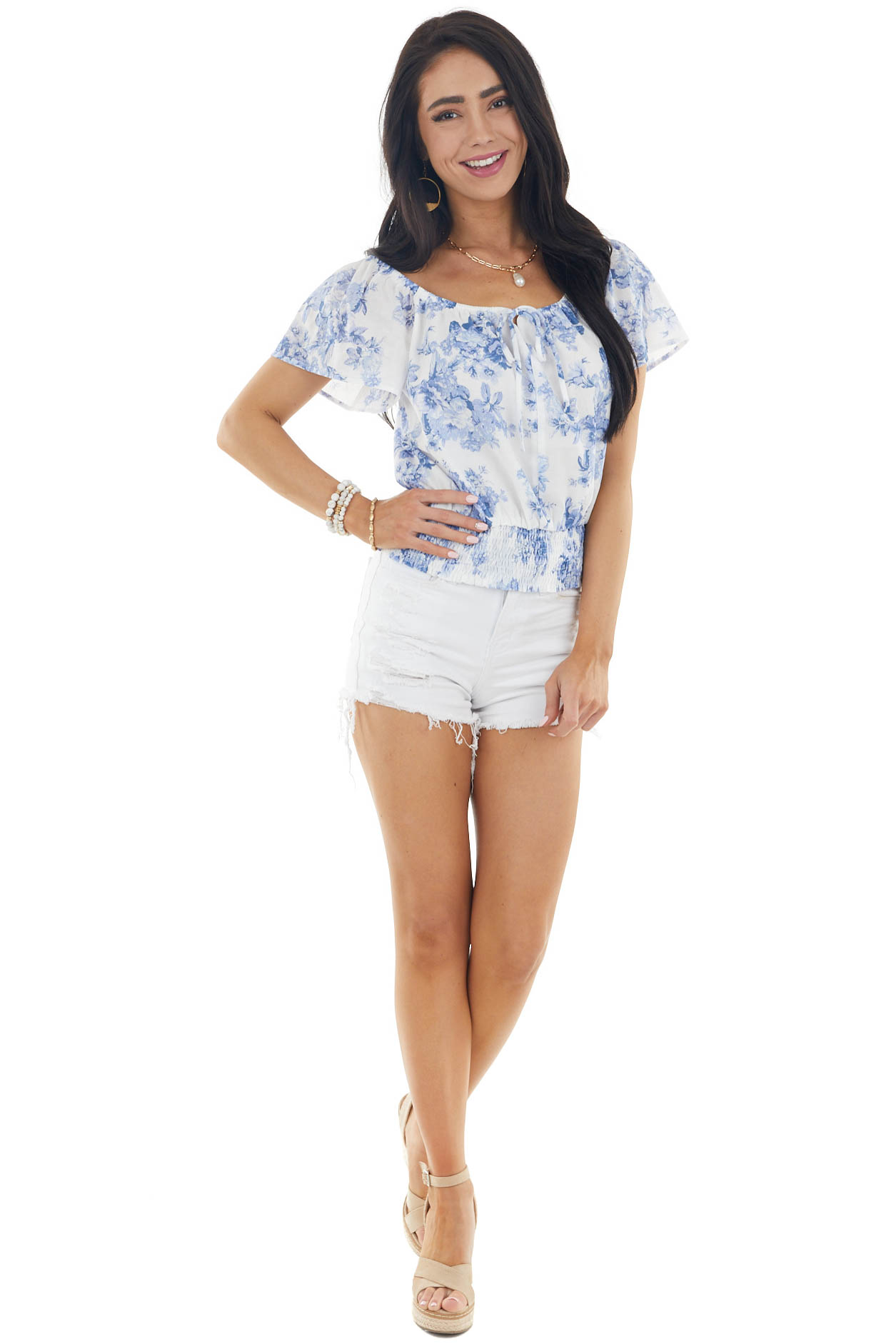 Pearl Floral Print Short Sleeve Blouse with Smocked Waist