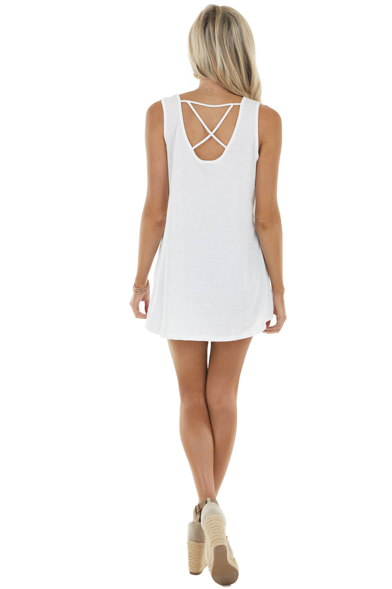 Heathered Ivory Sleeveless Knit Tank with Criss Cross Detail