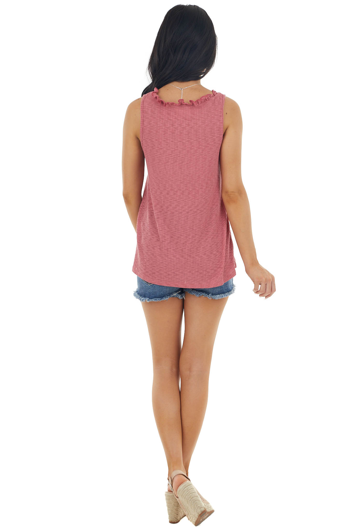 Vintage Berry Sleeveless Knit Tank Top with Lettuce Neckline
