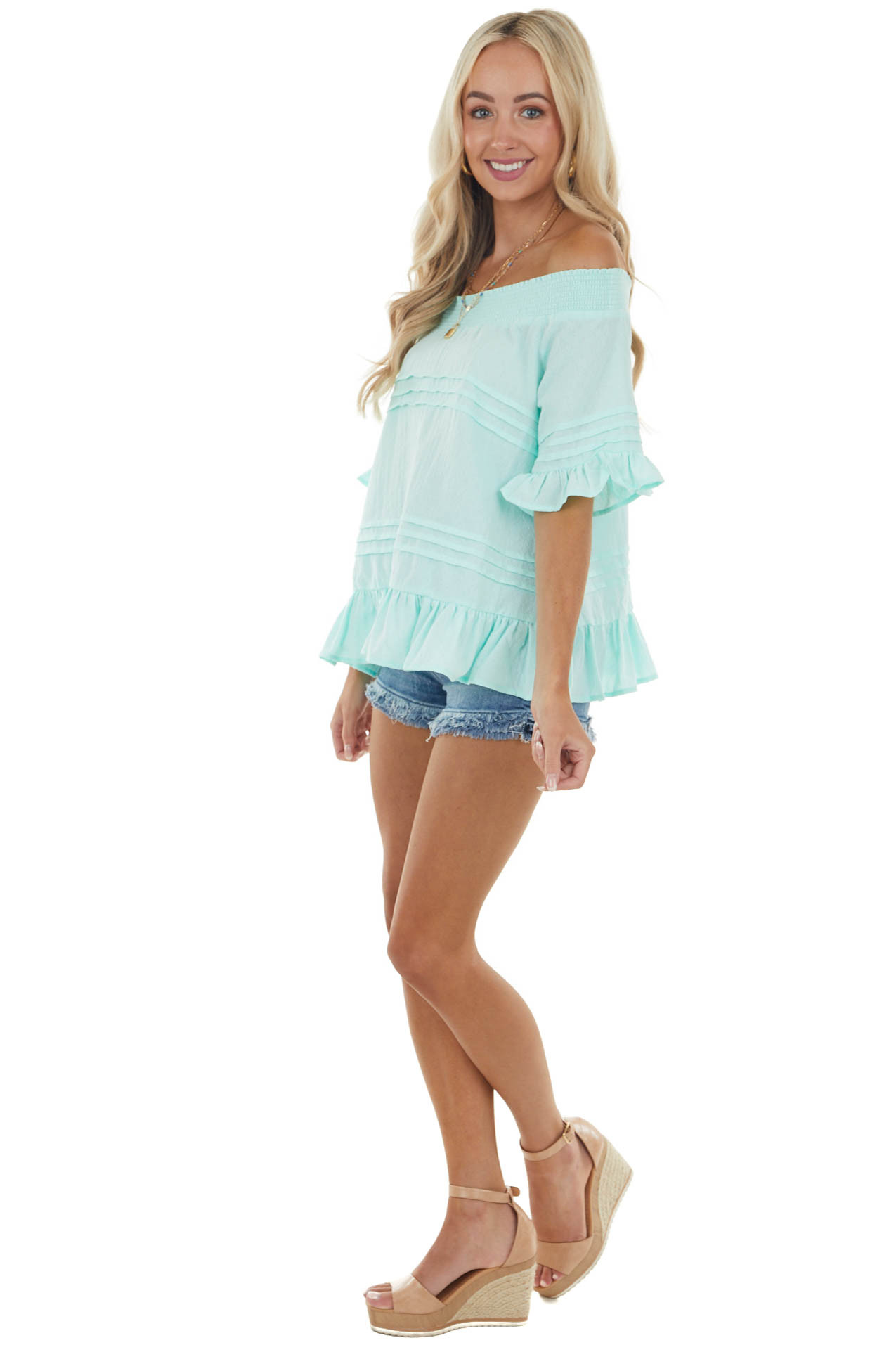 Mint Off the Shoulder Woven Top with Ruffle Details