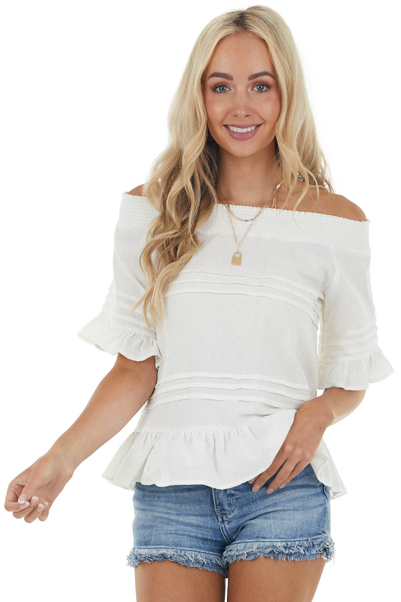 Ivory Off the Shoulder Woven Top with Ruffle Details
