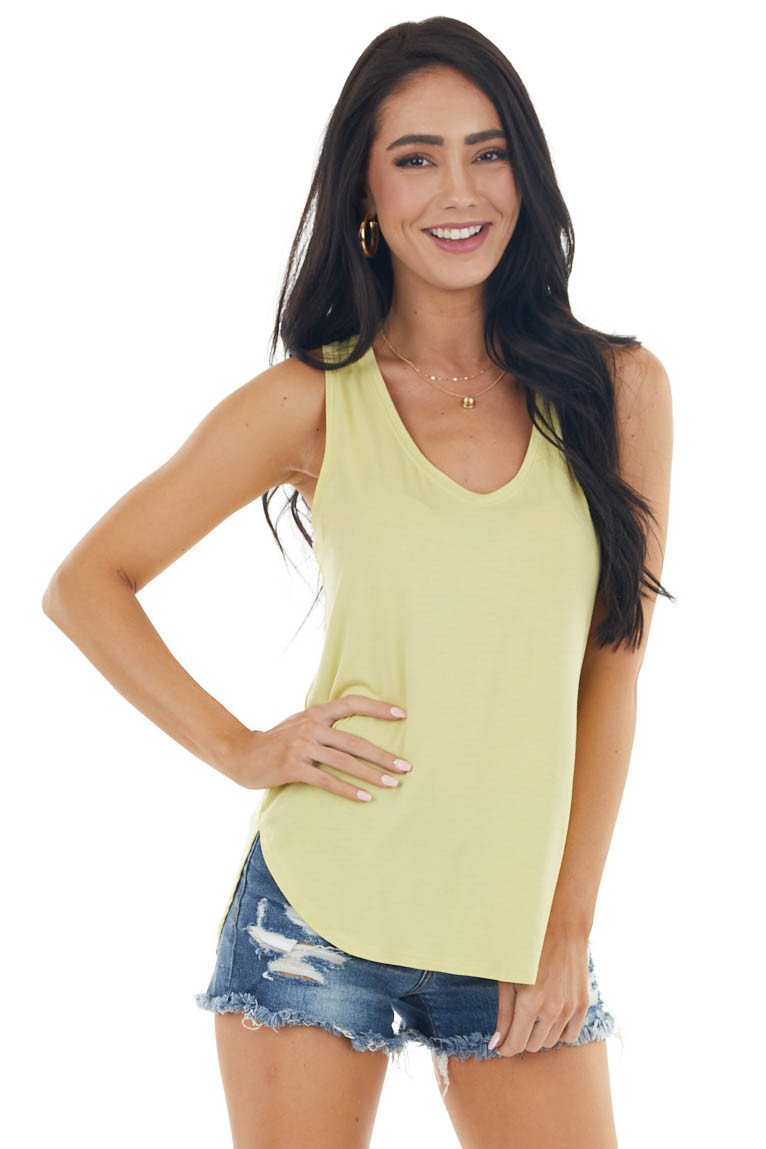 Faded Lime Sleeveless Loose Fit Knit Top with V Neckline