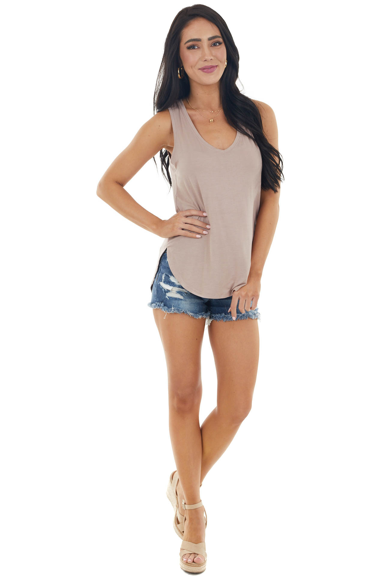 Rose Taupe Sleeveless Loose Fit Knit Top with V Neckline