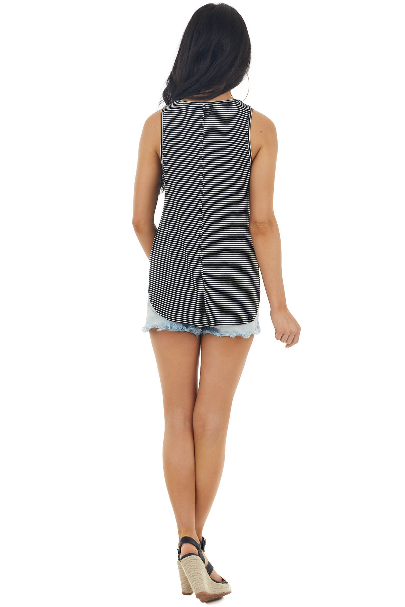 Black Striped Sleeveless Loose Fit Knit Top with V Neckline