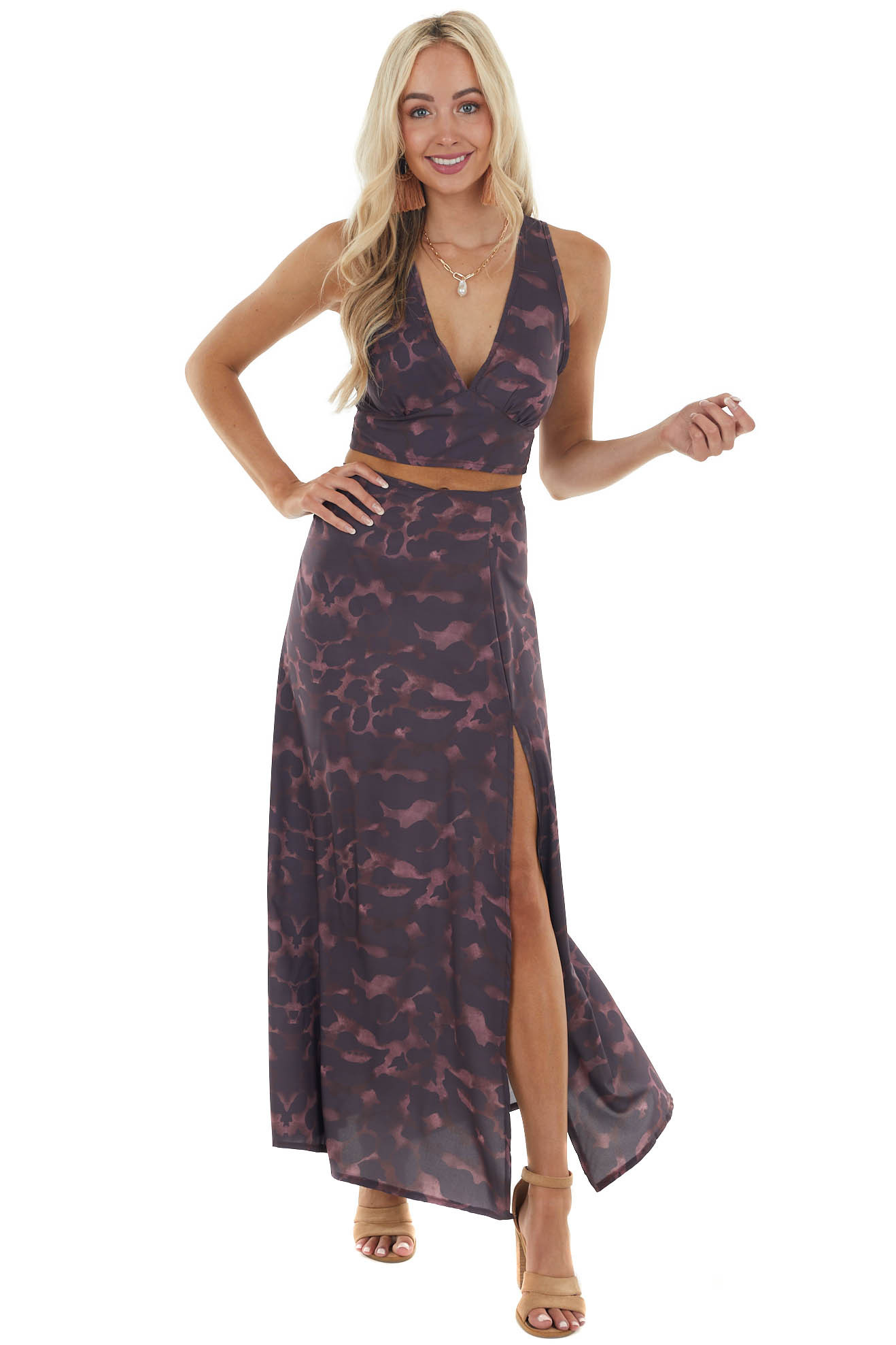 Mahogany Leopard Print Top and Maxi Skirt Two Piece Set
