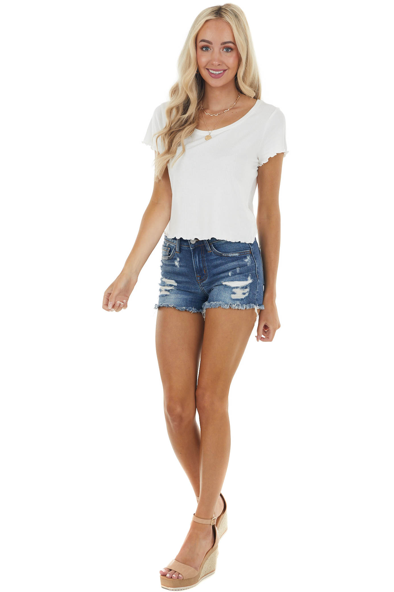 Off White Stretchy Ribbed Knit Top with Lettuce Hemline