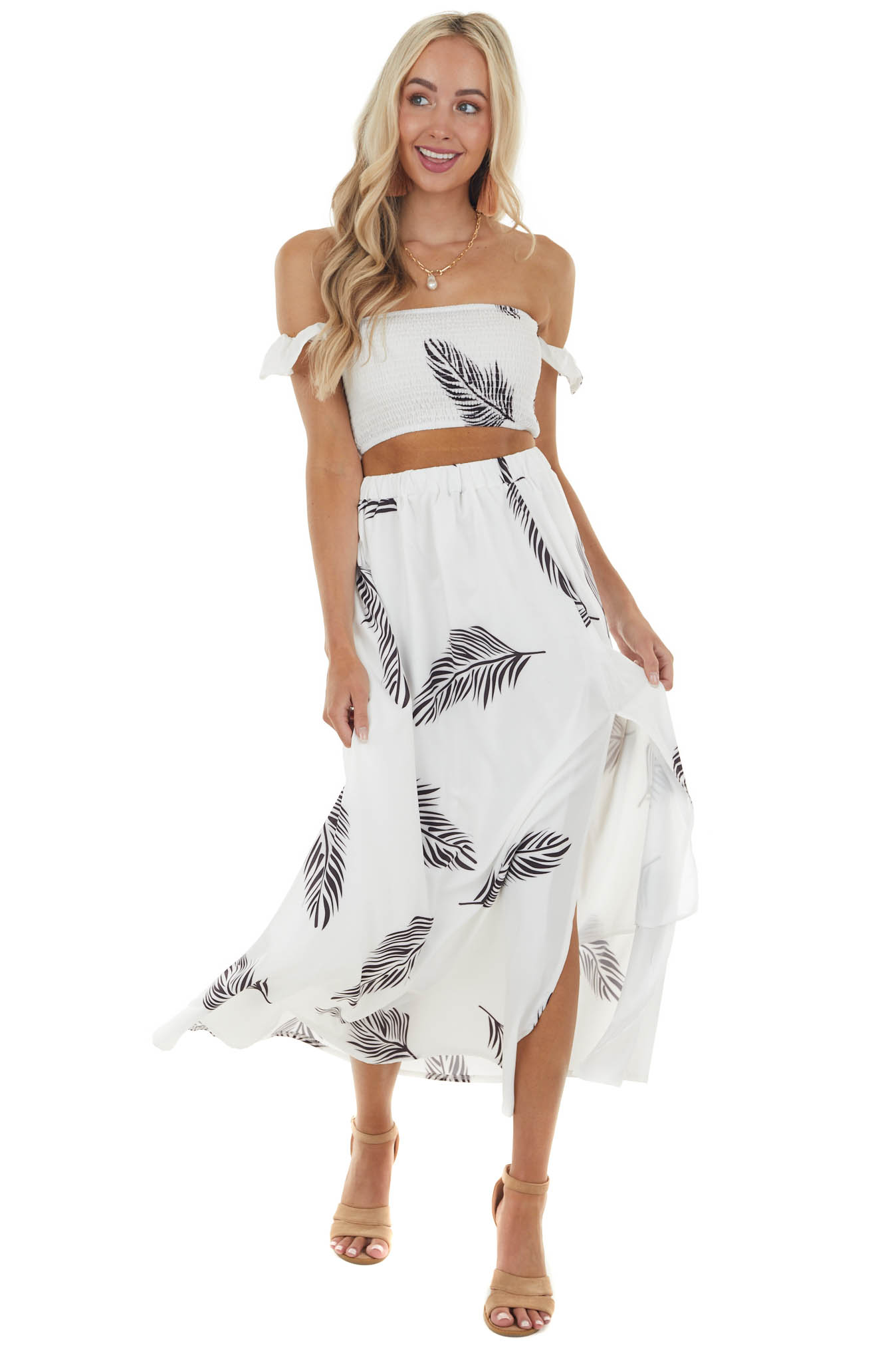 Ivory Leaf Print Off Shoulder Top and Skirt Two Piece Set