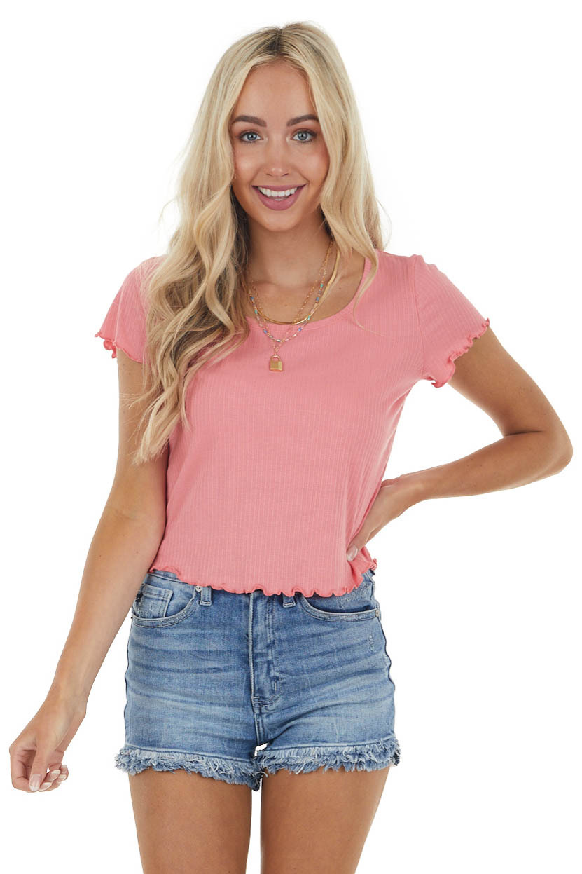 Punch Stretchy Ribbed Knit Top with Lettuce Hemline