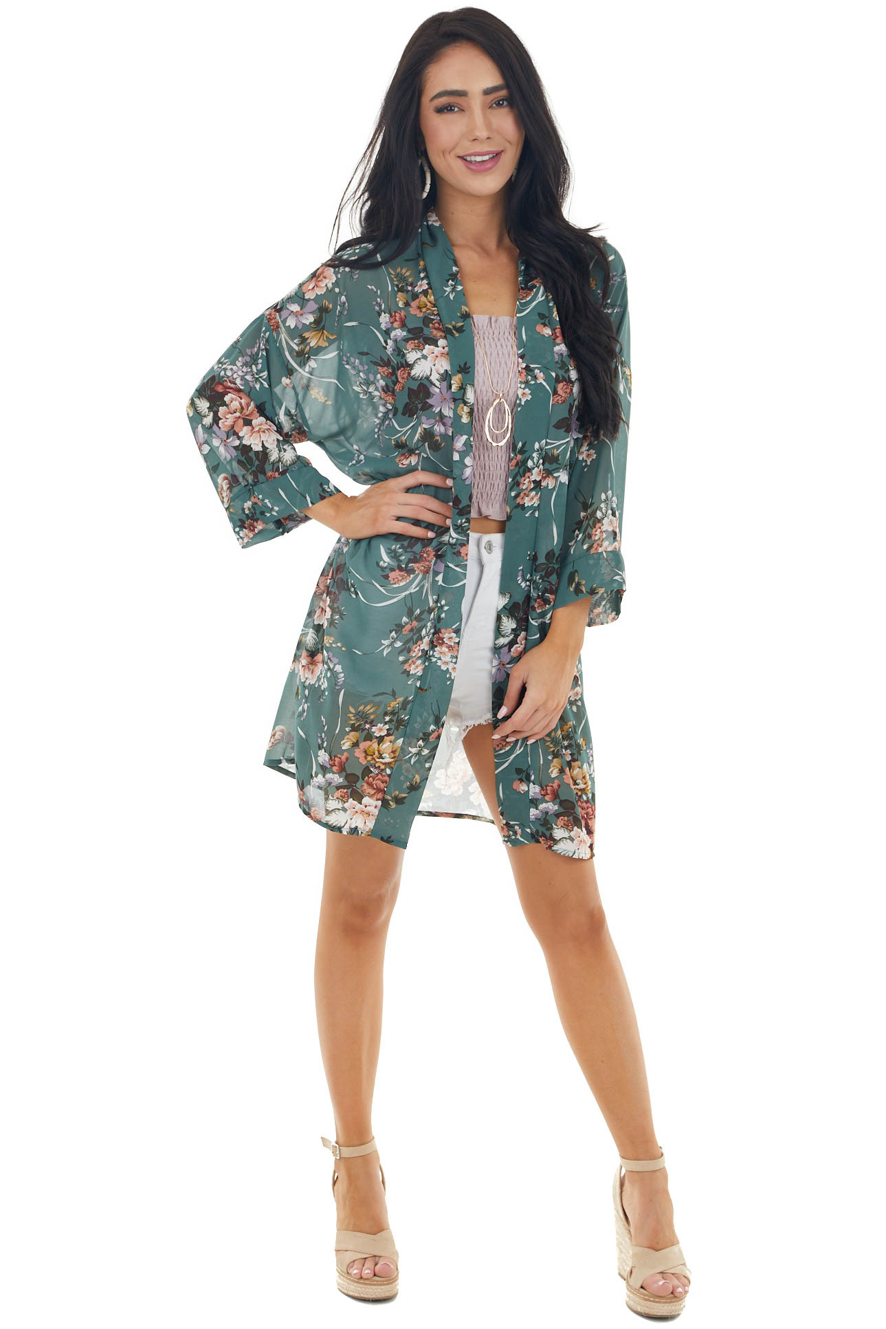Juniper Floral Print 3/4 Sleeve Kimono with Open Front