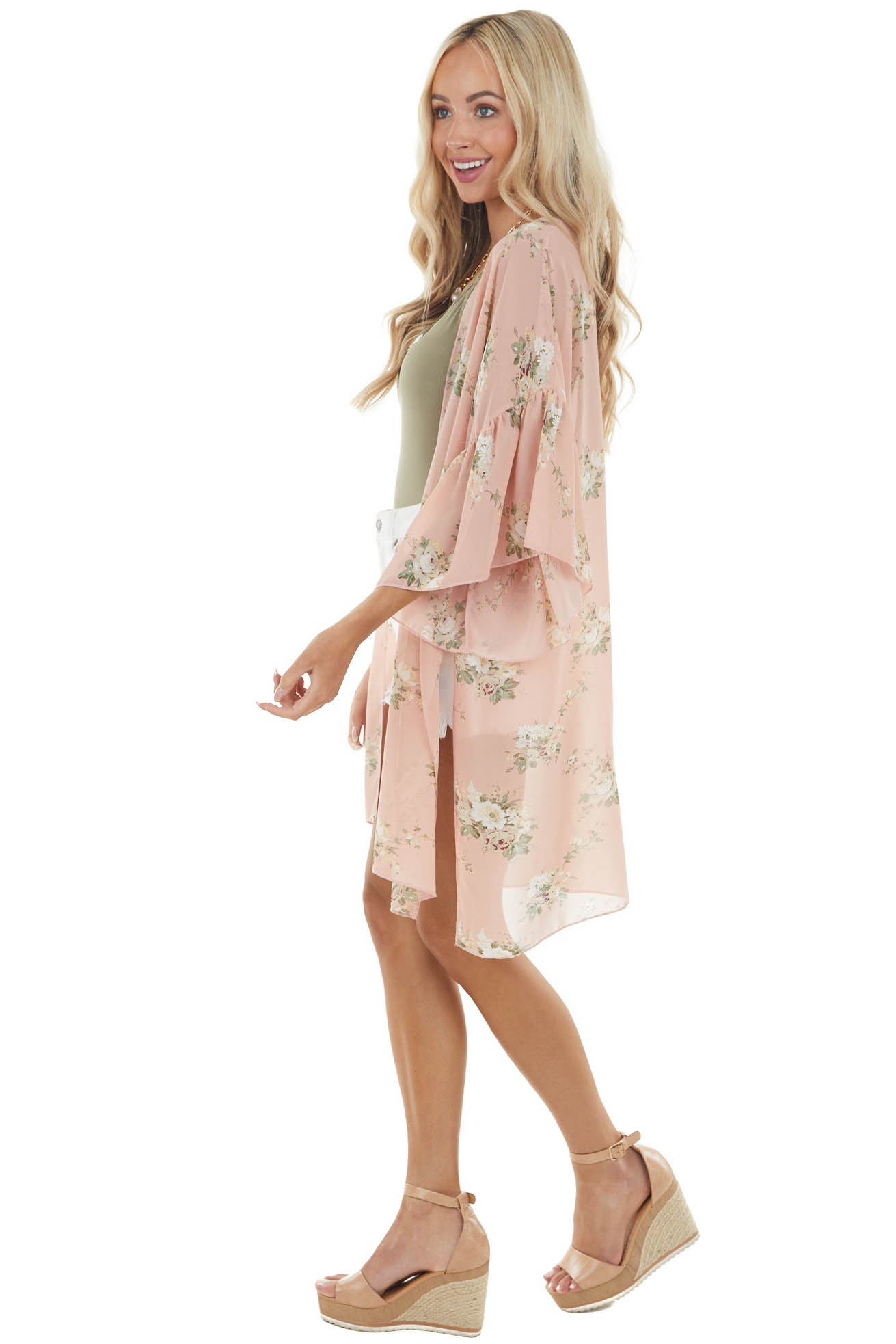 Cherry Blossom Floral 3/4 Sleeve Kimono with Open Front