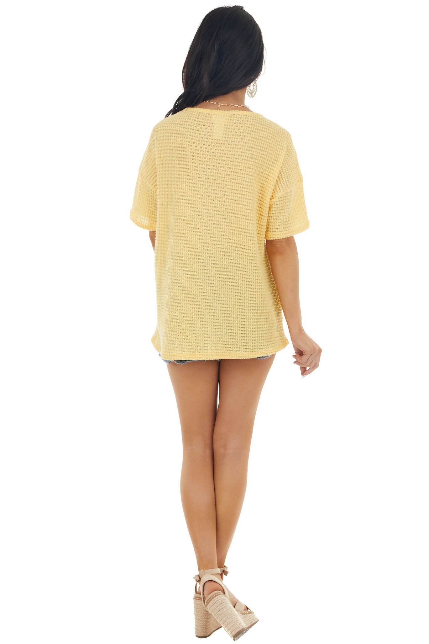 Amber Waffle Knit V Neck Short Sleeve Top with Lace Detail
