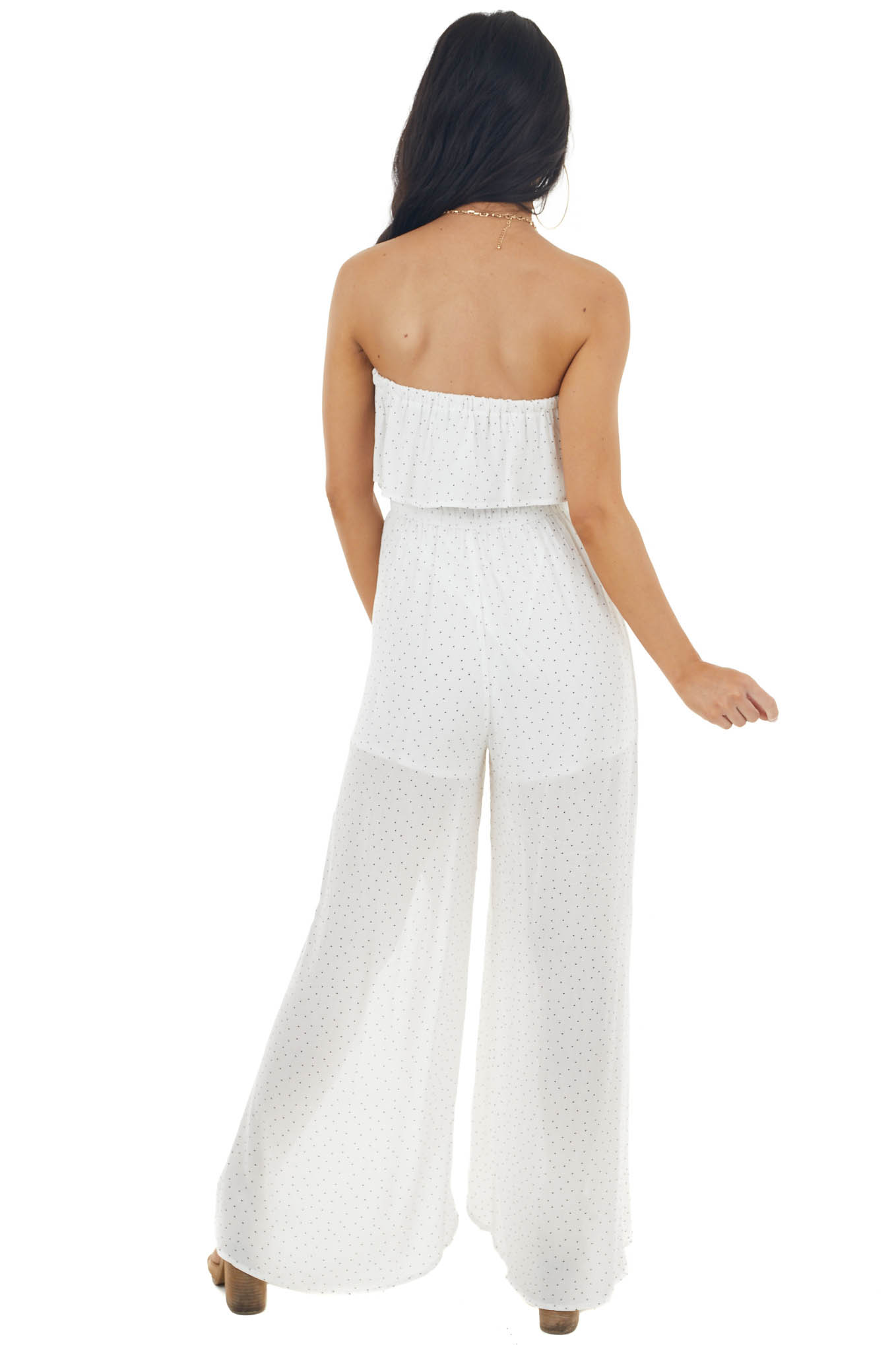 Off White Spotted Strapless Wide Leg Jumpsuit with Overlay