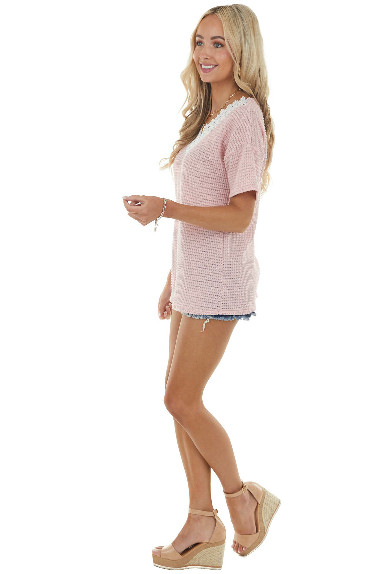 Bubblegum Waffle Knit V Neck Short Sleeve Top with Lace