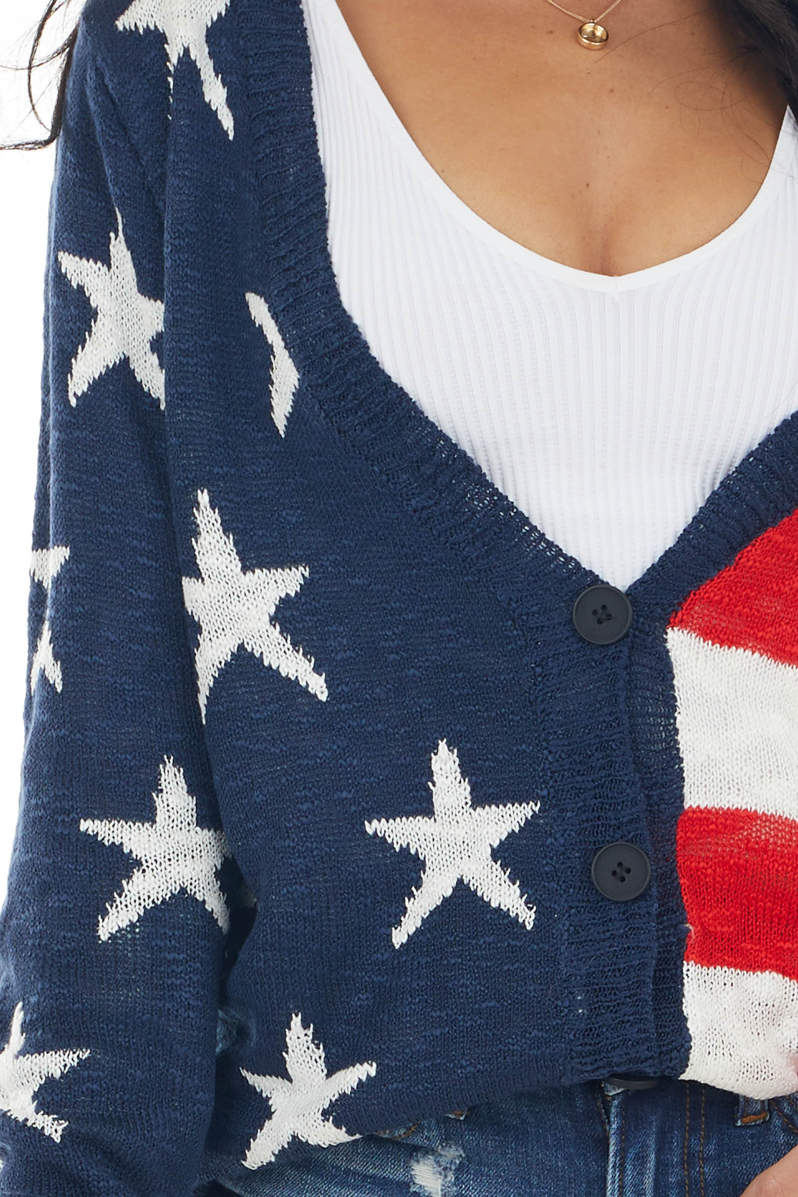 Navy American Flag Print Long Sleeve Open Front Cardigan