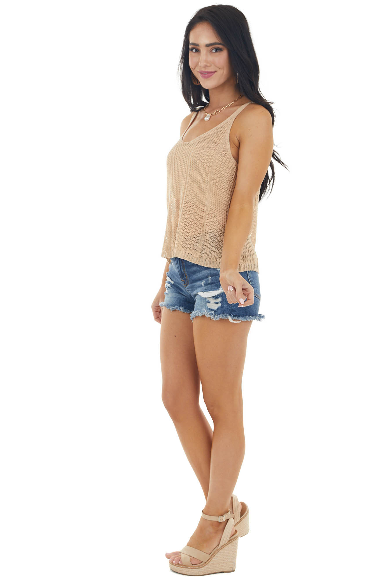 Beige Loose Knit Sleeveless Tank Top with Scoop Neck