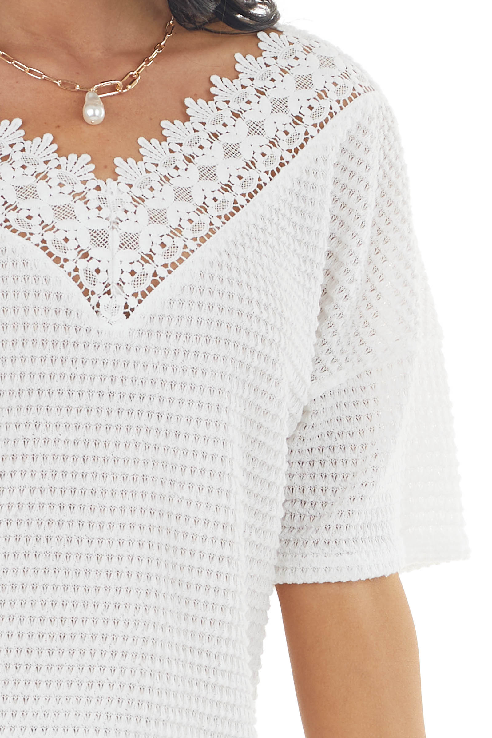 Off White Waffle Knit V Neck Short Sleeve Top with Lace
