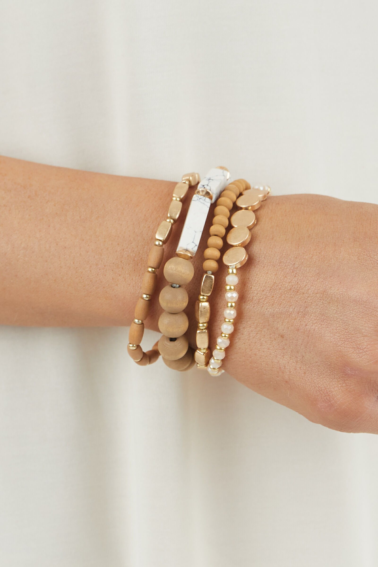 Peanut and Gold Beaded Bracelet Set with Marble Details