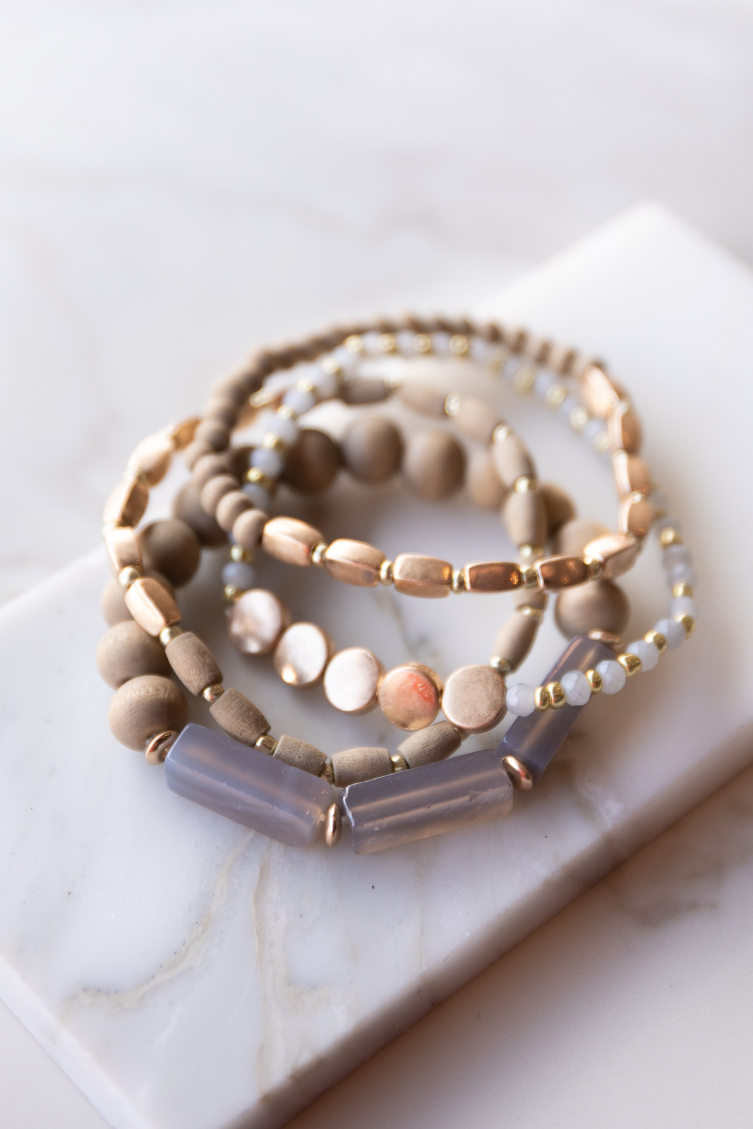 Taupe and Gold Beaded Bracelet Set with Marble Details