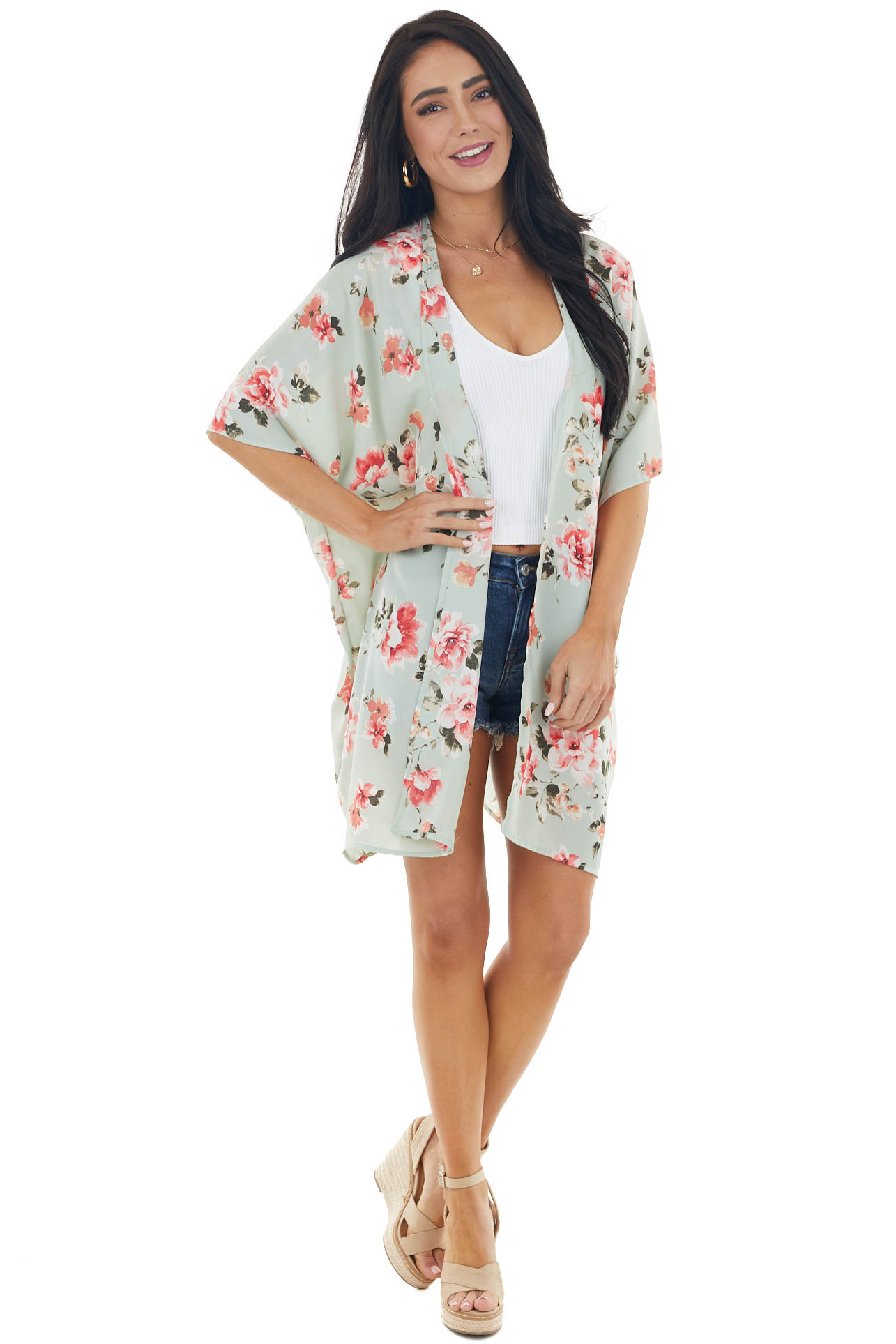 Pale Mint Floral Open Front Kimono with Back Cut Out Detail