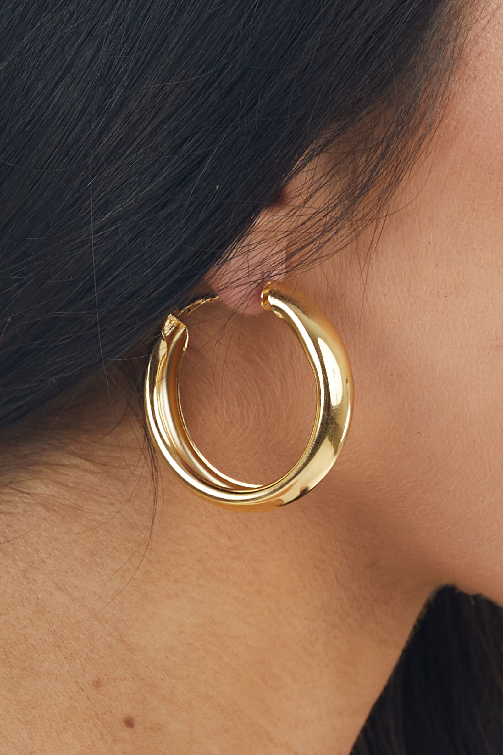 Shiny Gold Metallic Thick Hoop Earrings with Wire Closure