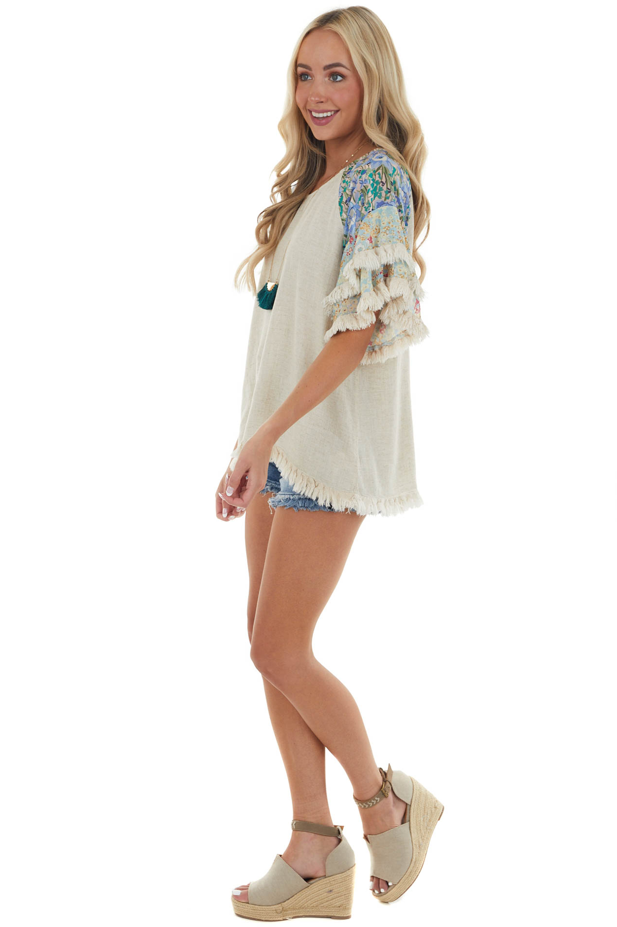 Light Oatmeal Floral Print Short Sleeve Top with Fray Detail