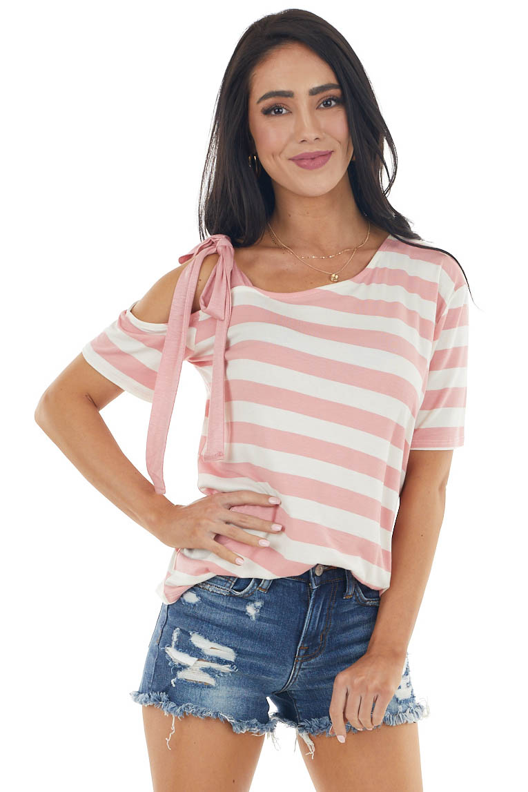 Punch and Ivory Striped Print Cold Shoulder Knit Top
