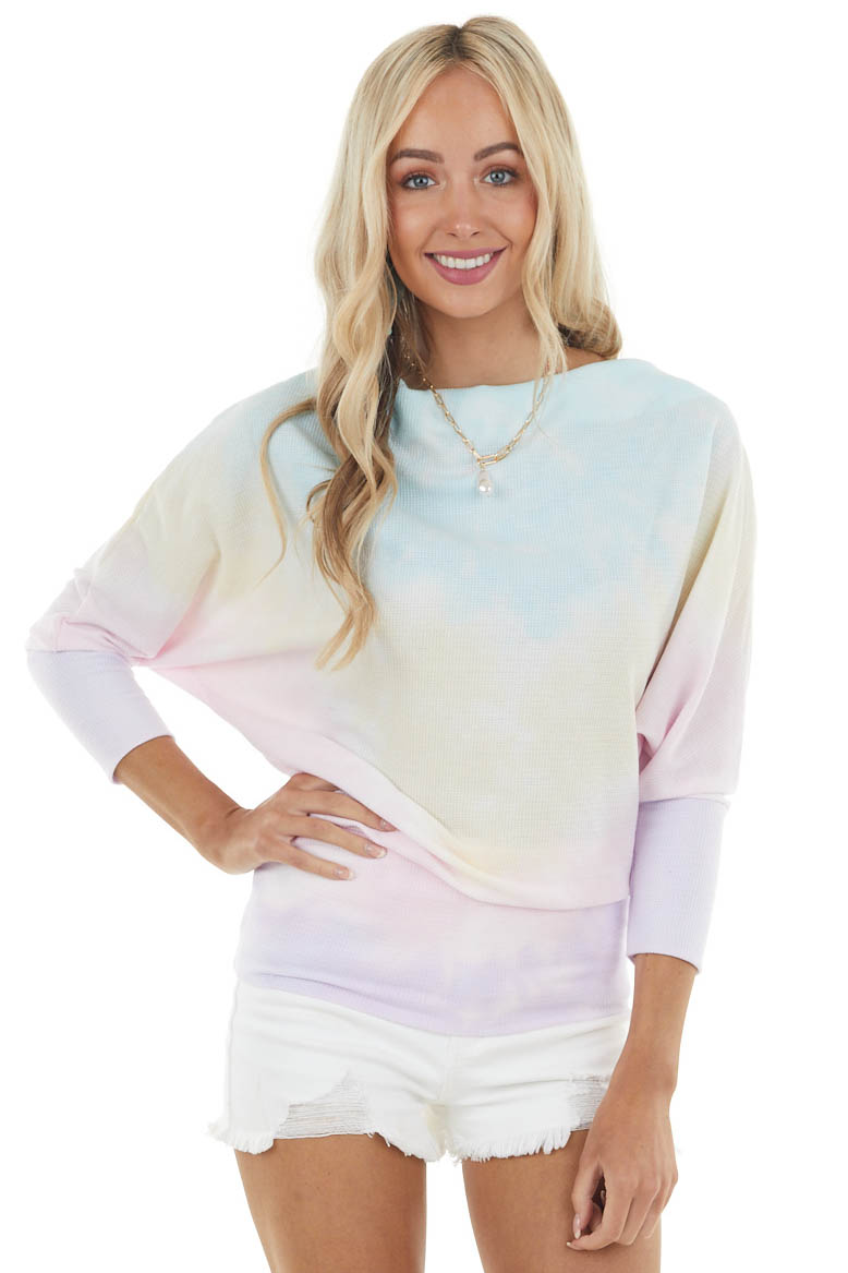 Aqua Tie Dye Print Long Sleeve Boat Neck Waffle Knit Top