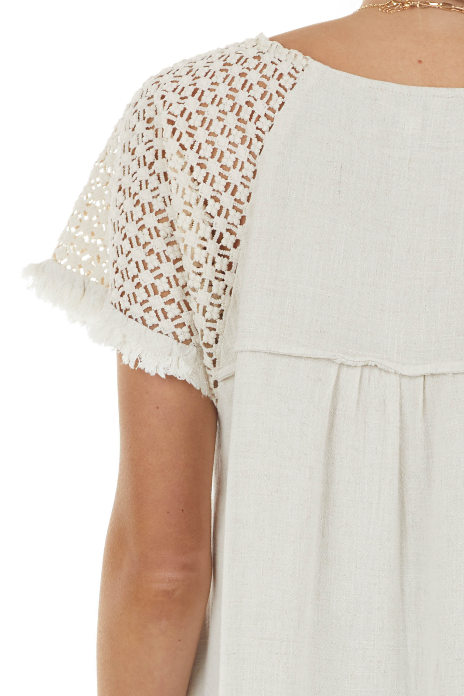 Light Oatmeal Textured Short Sleeve Top with Fray Details