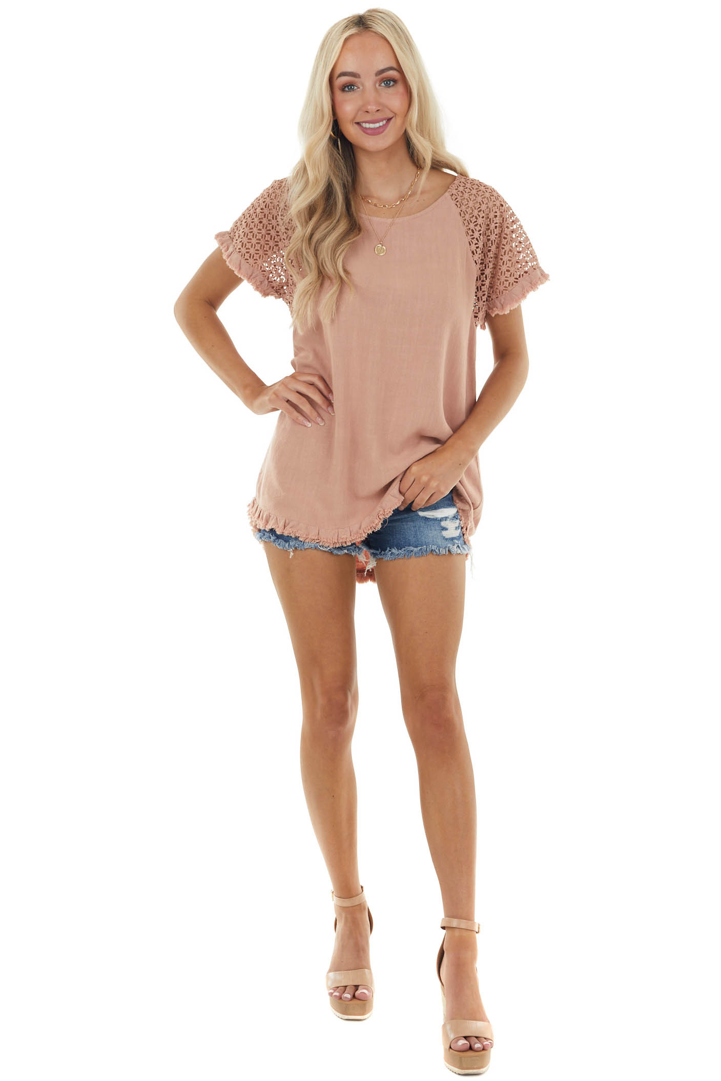 Light Sienna Textured Short Sleeve Top with Fray Details