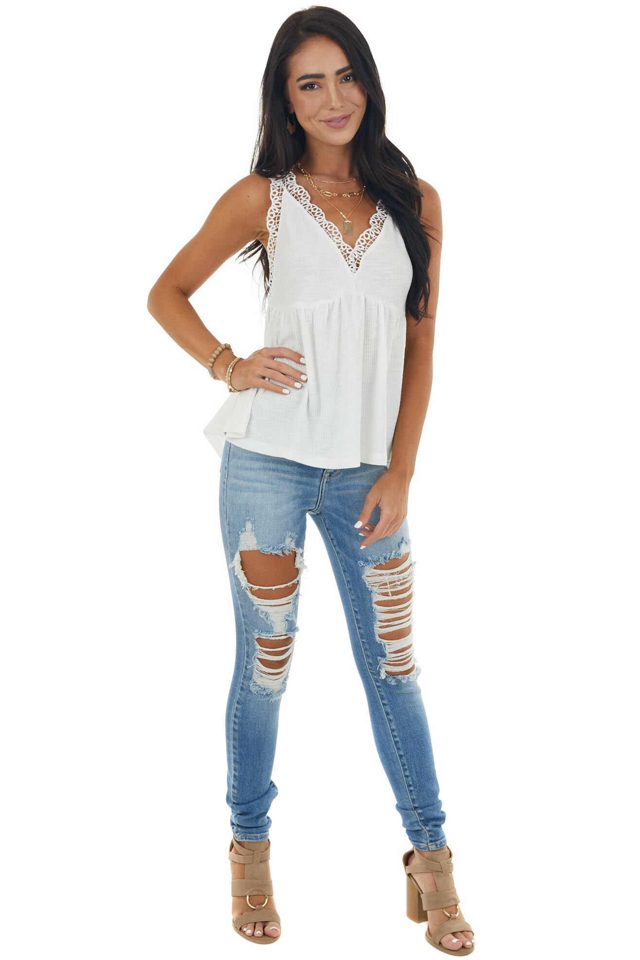 Ivory V Neck Tank Top with Crochet Lace Trim