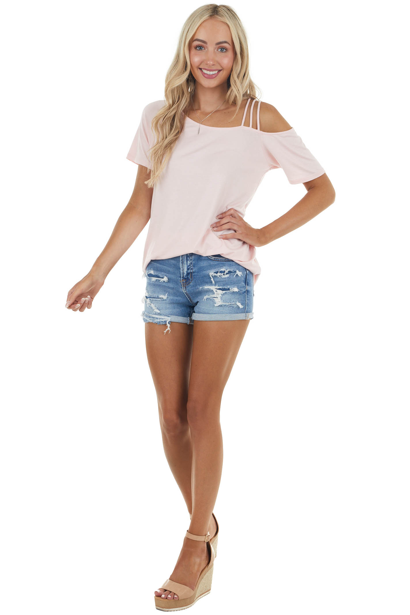 Cherry Blossom Short Sleeve Strappy Cold Shoulder Knit Top