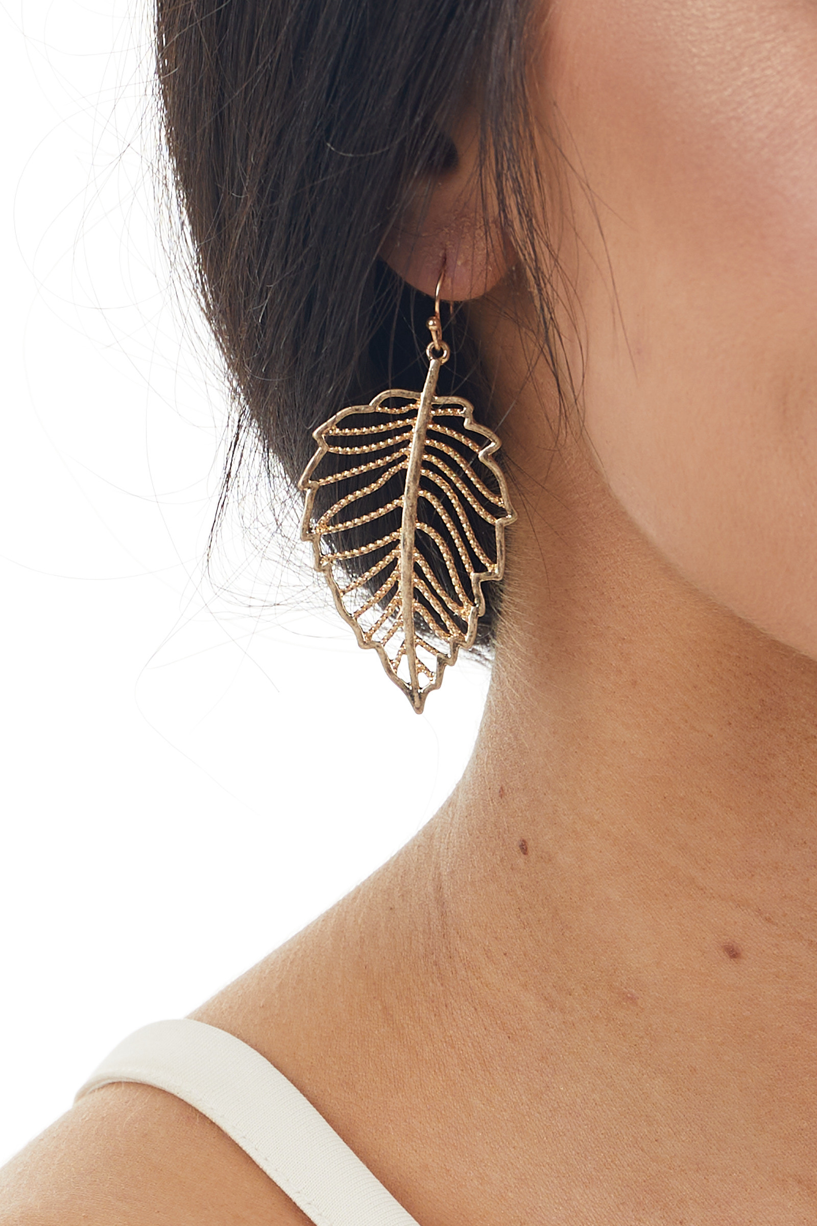 Brushed Gold Metallic Textured Leaf Shaped Drop Earrings
