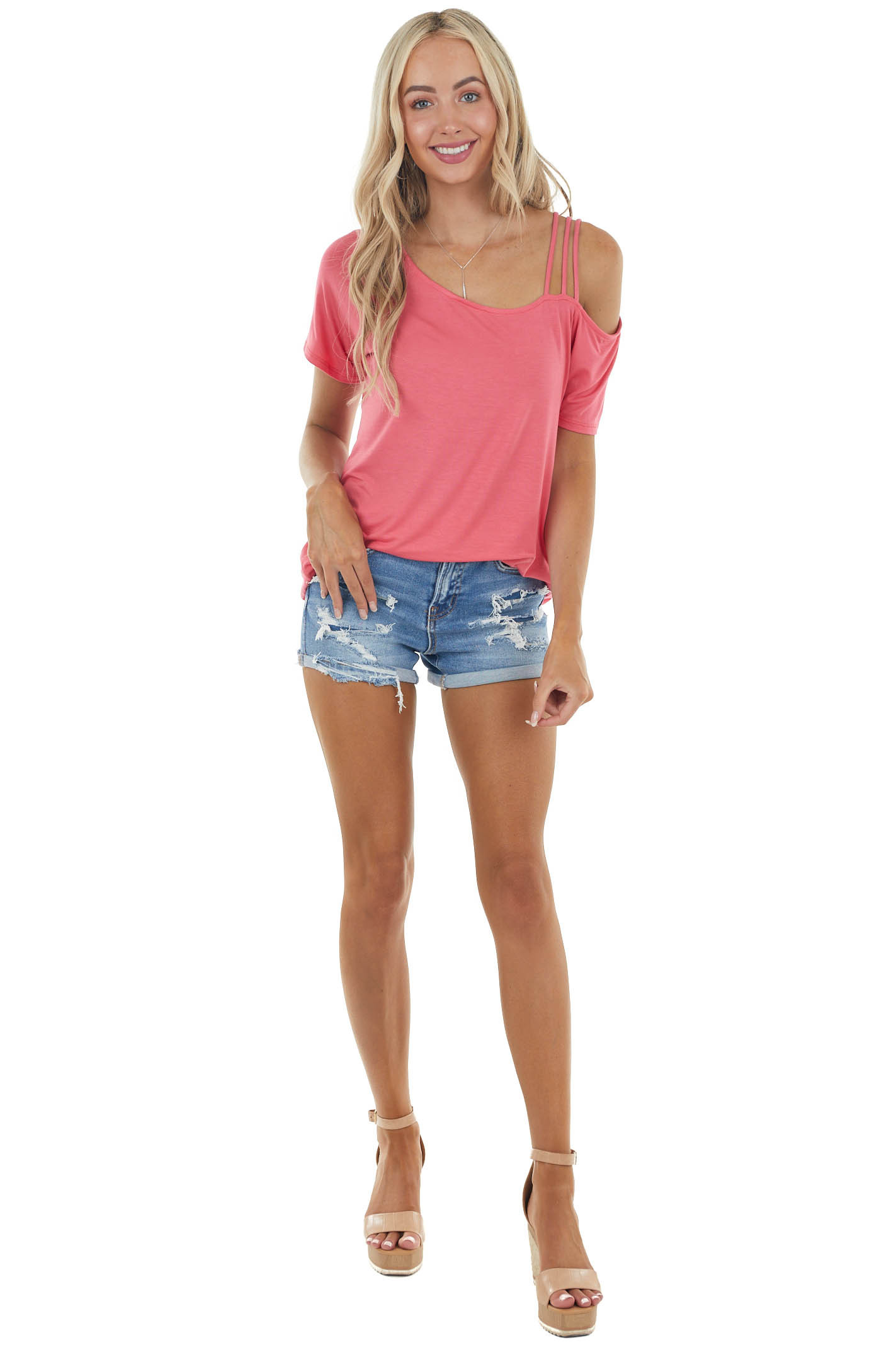 Watermelon Short Sleeve Strappy Cold Shoulder Knit Top