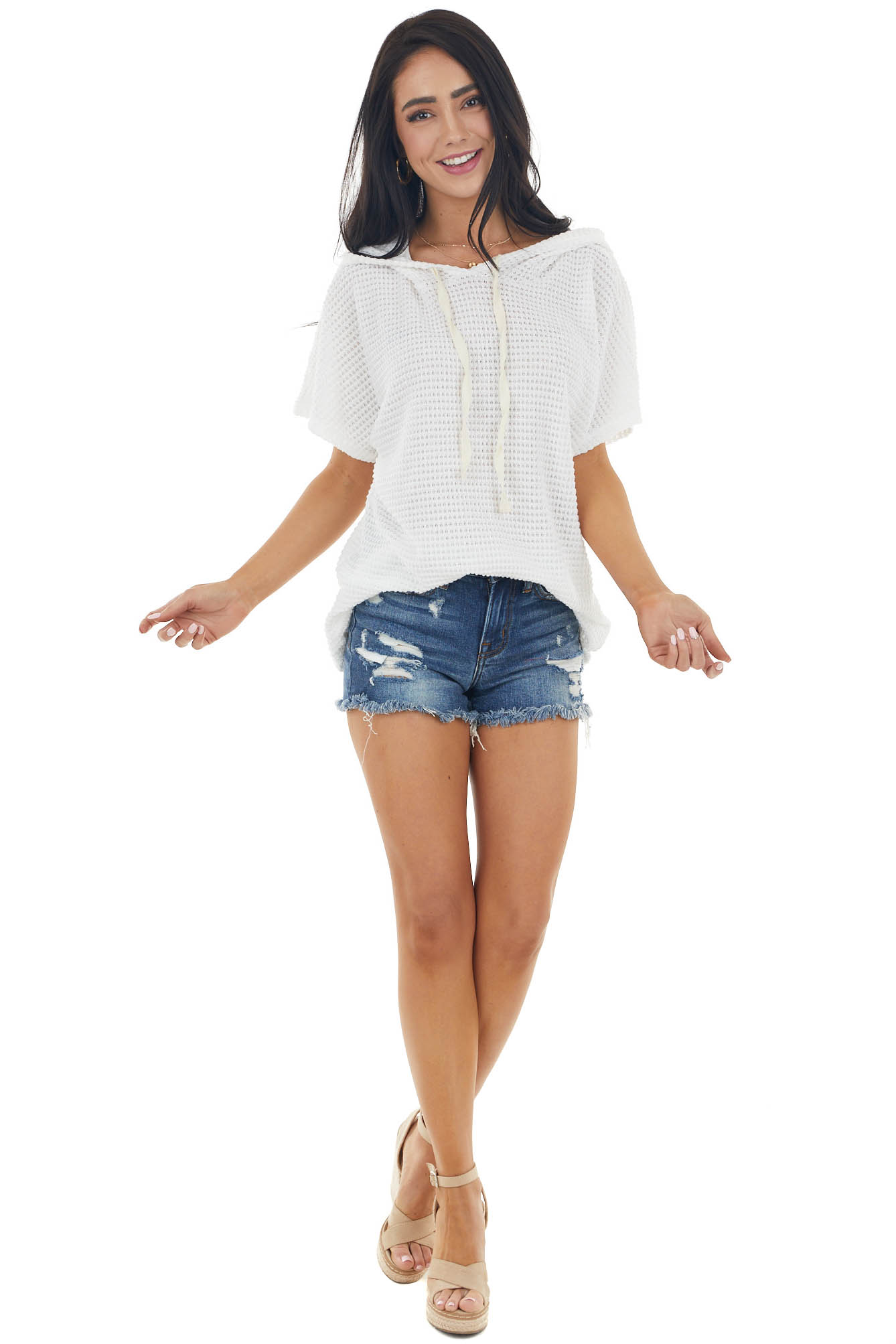 Ivory Short Sleeve Waffle Knit Hooded Top with Drawstrings