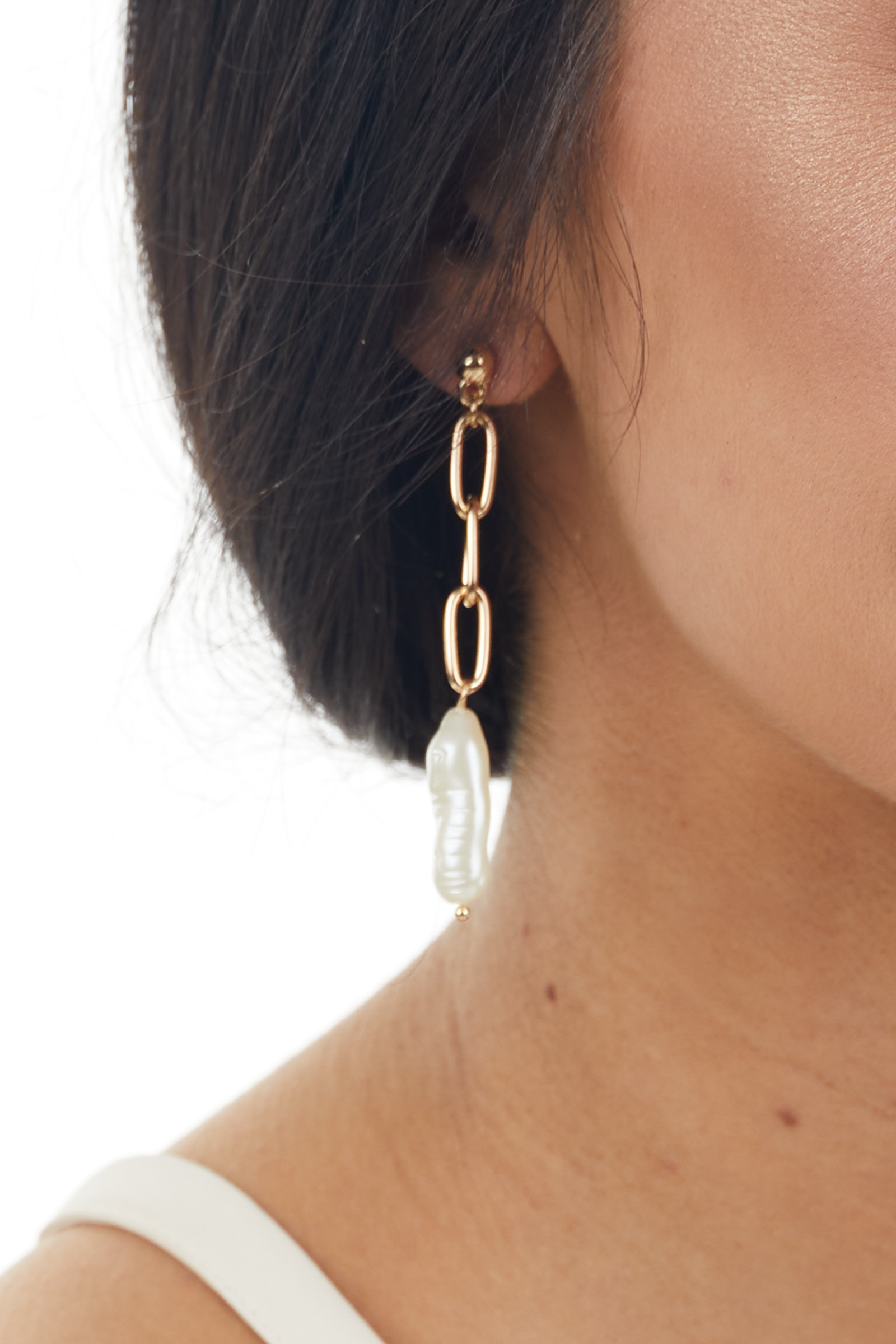 Gold Metallic Drop Chain Earrings with Pearl Detail