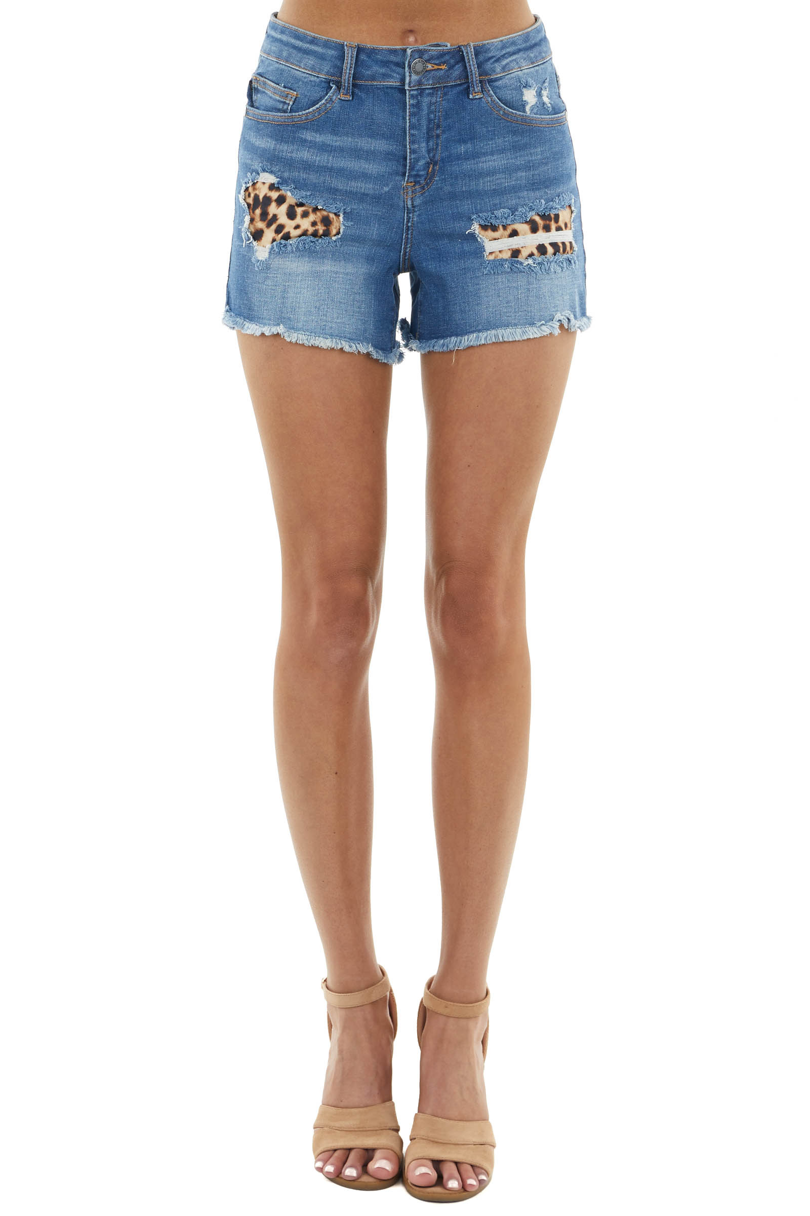 Dark Wash Distressed High Rise Shorts with Leopard Patches