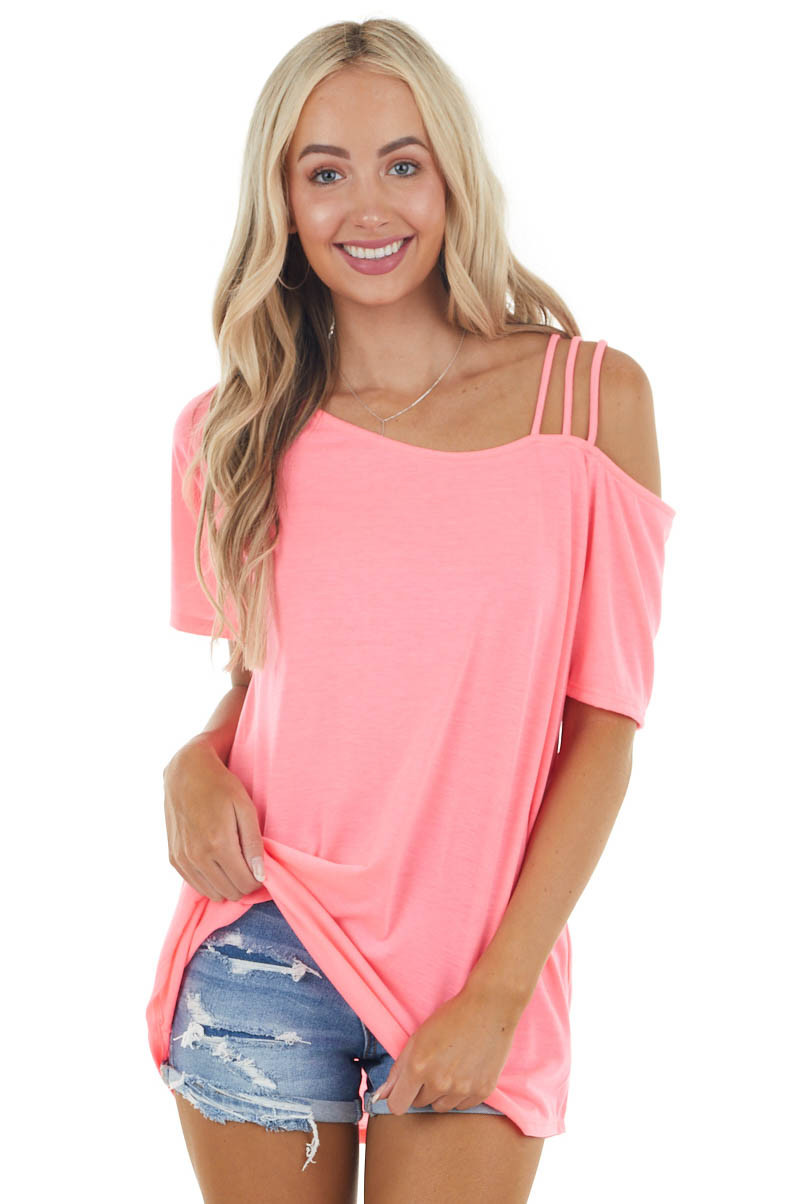 Neon Punch Pink Short Sleeve Strappy Cold Shoulder Knit Top