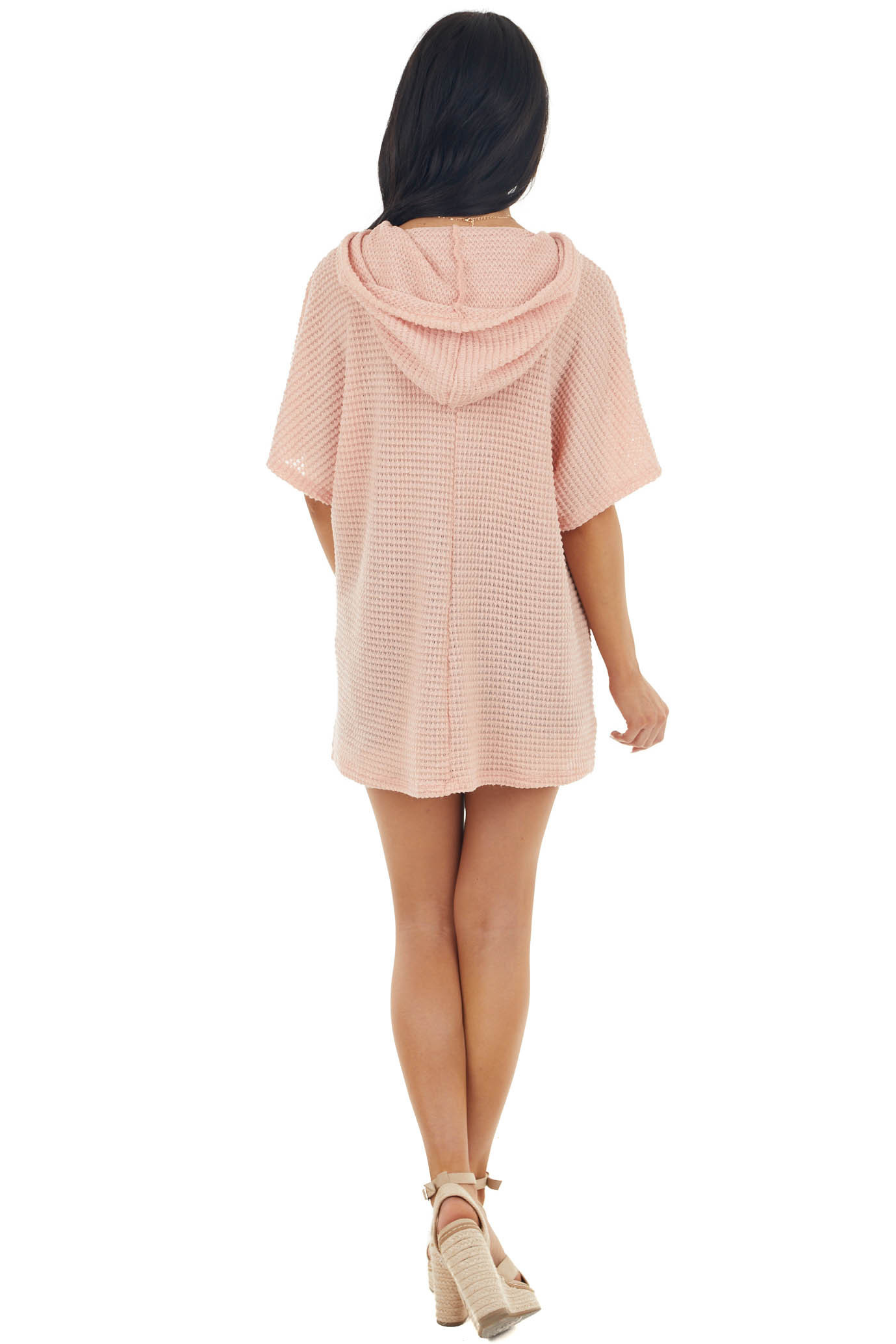 Coral Short Sleeve Waffle Knit Hooded Top with Drawstrings