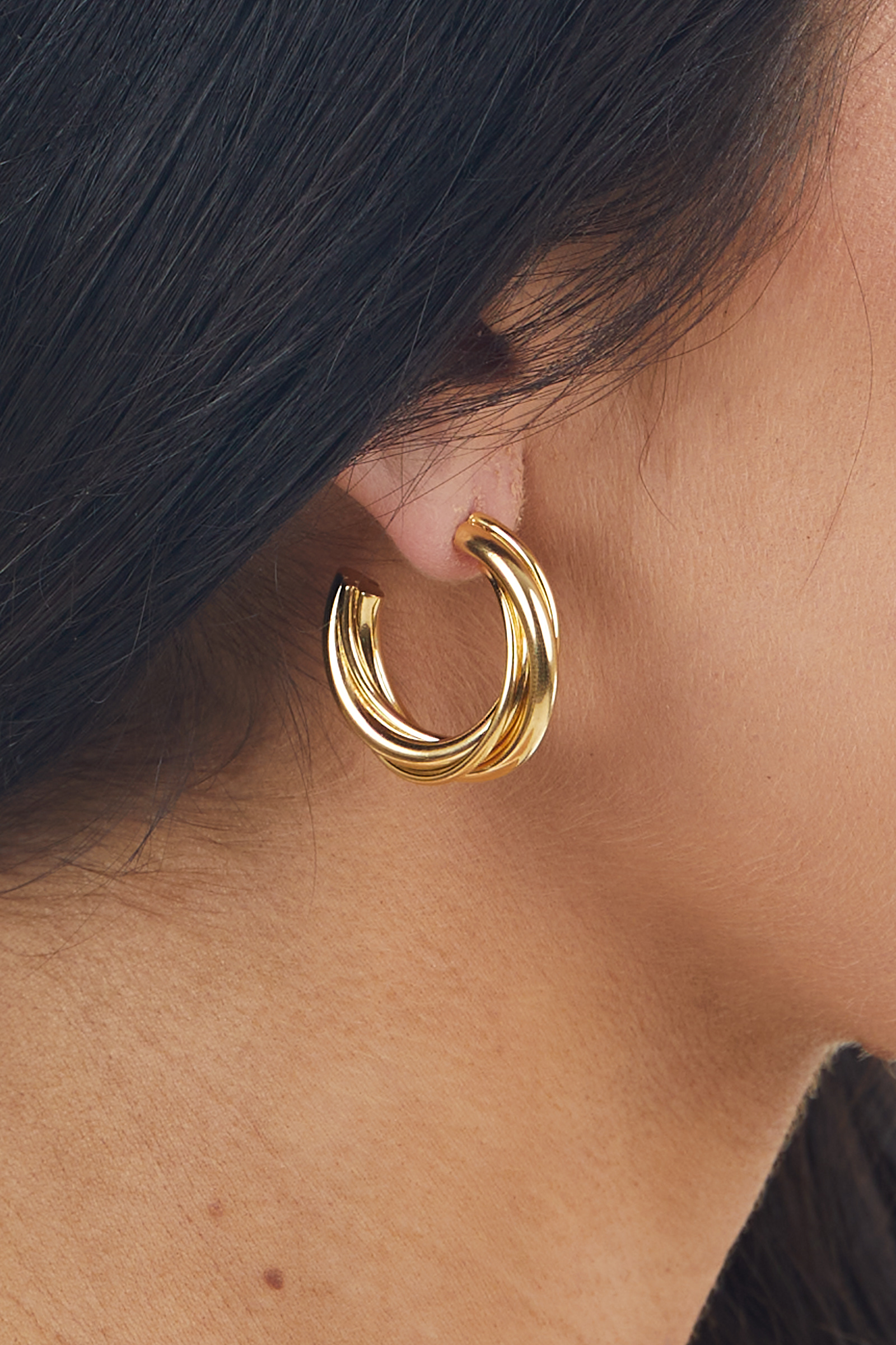 Gold Metallic Small Twisted Textured Crescent Hoop Earrings