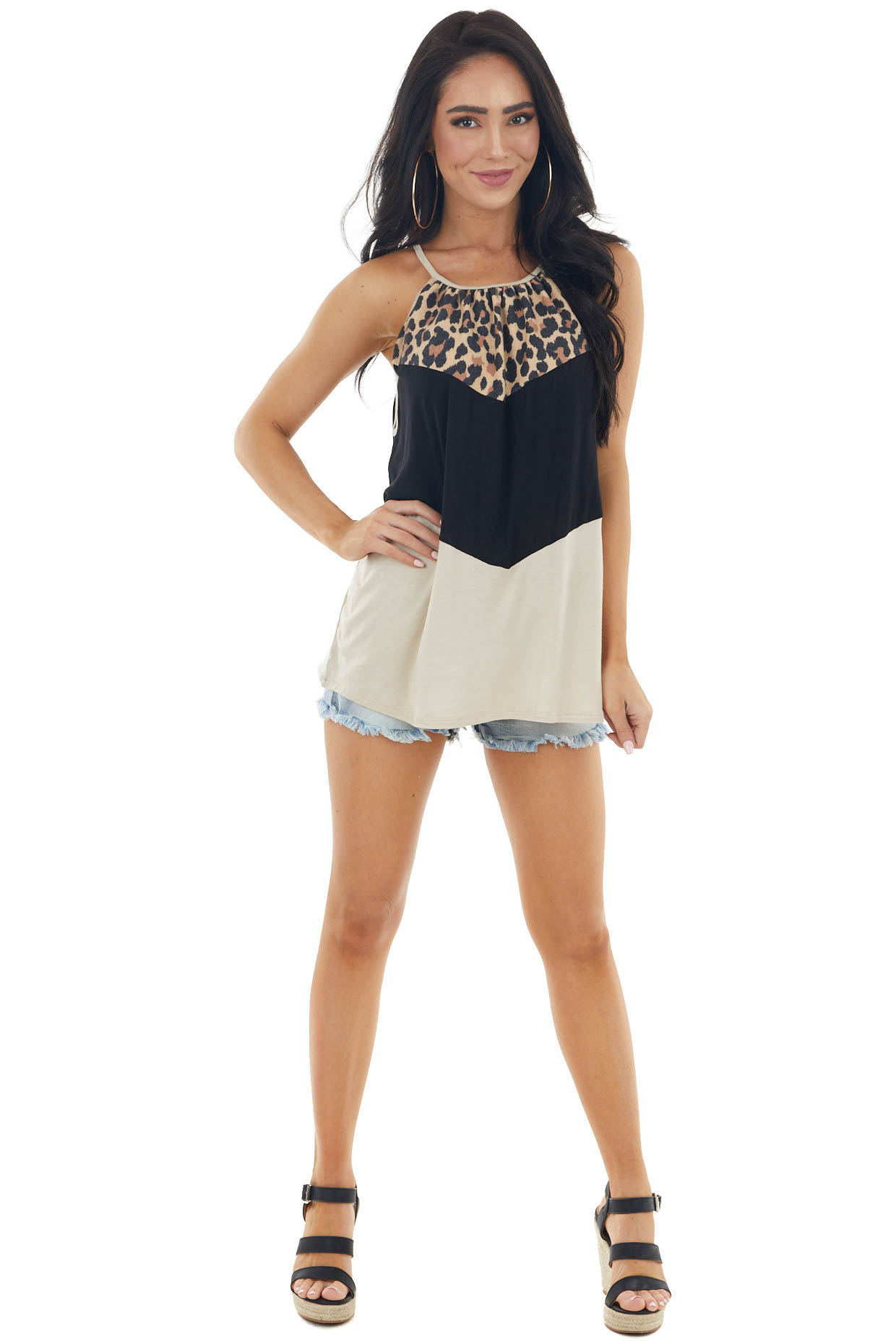 Sand Colorblock Sleeveless Halter Top with Chevron Detail
