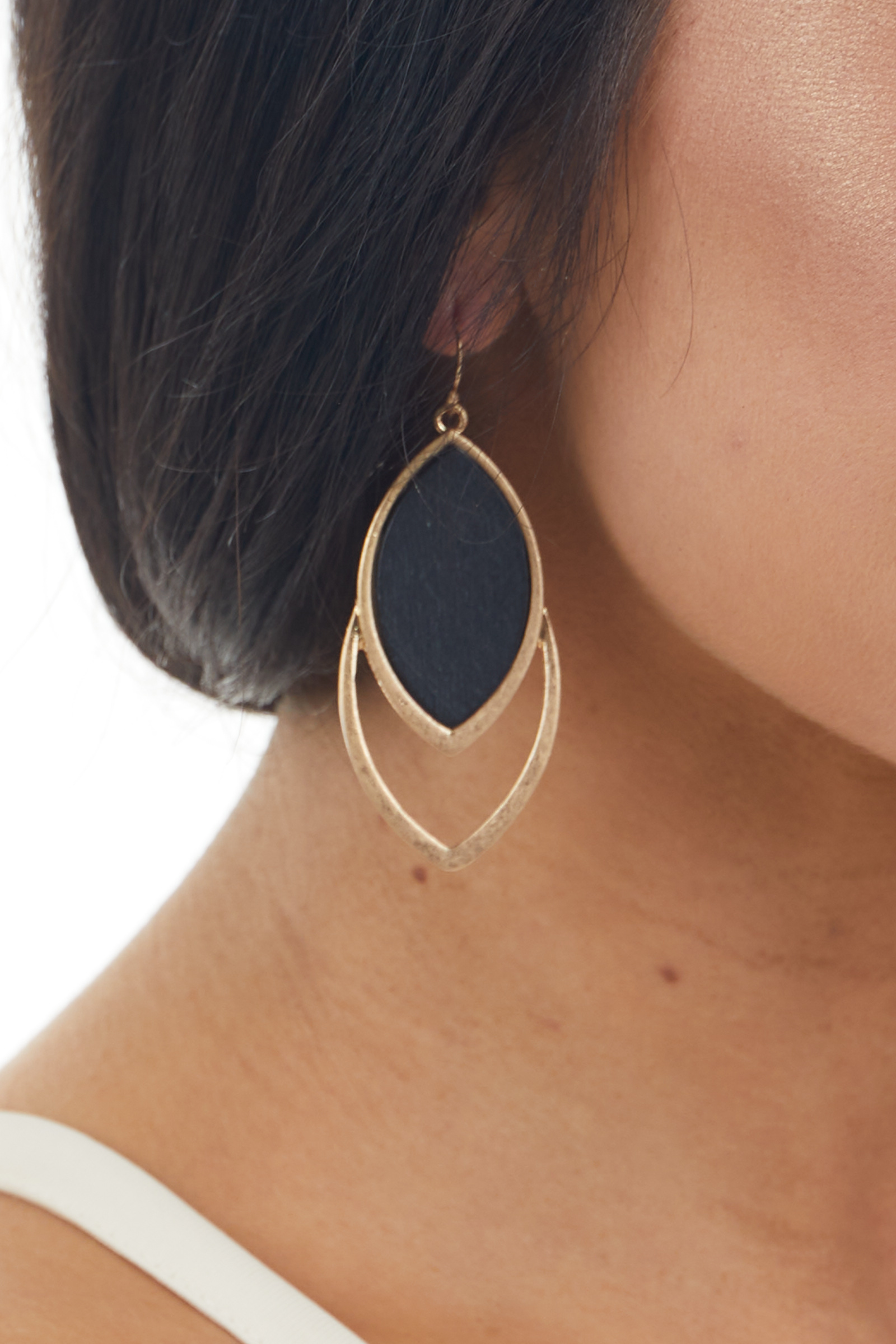Brushed Gold and Black Double Oval Dangle Earrings
