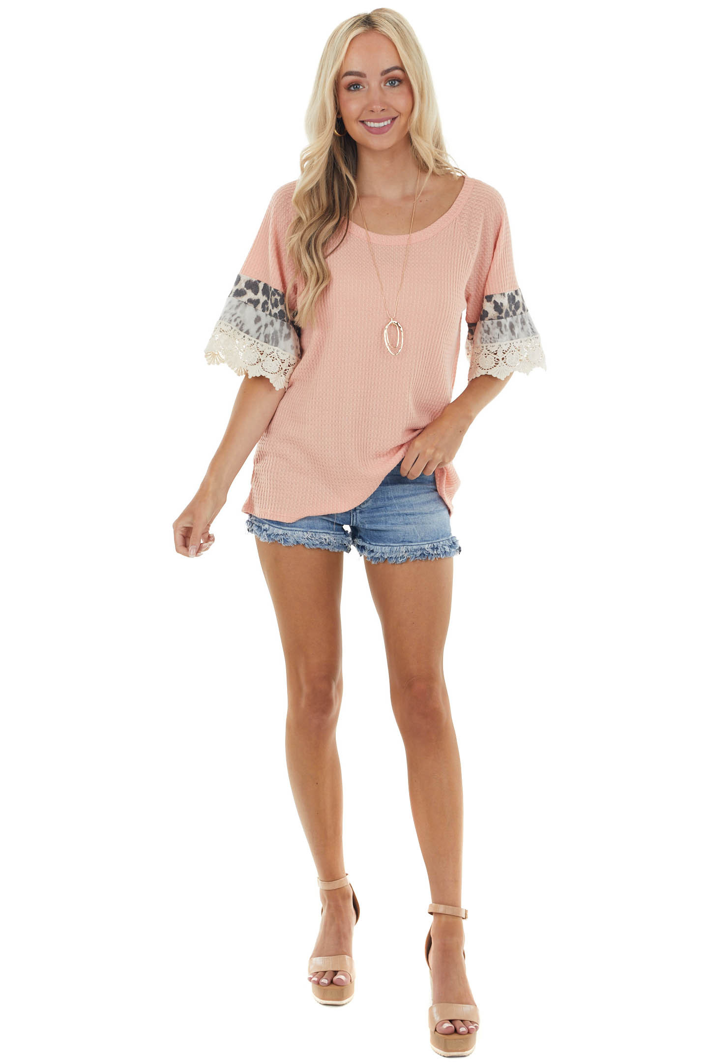 Coral Leopard Short Sleeve Waffle Knit Top with Lace Detail