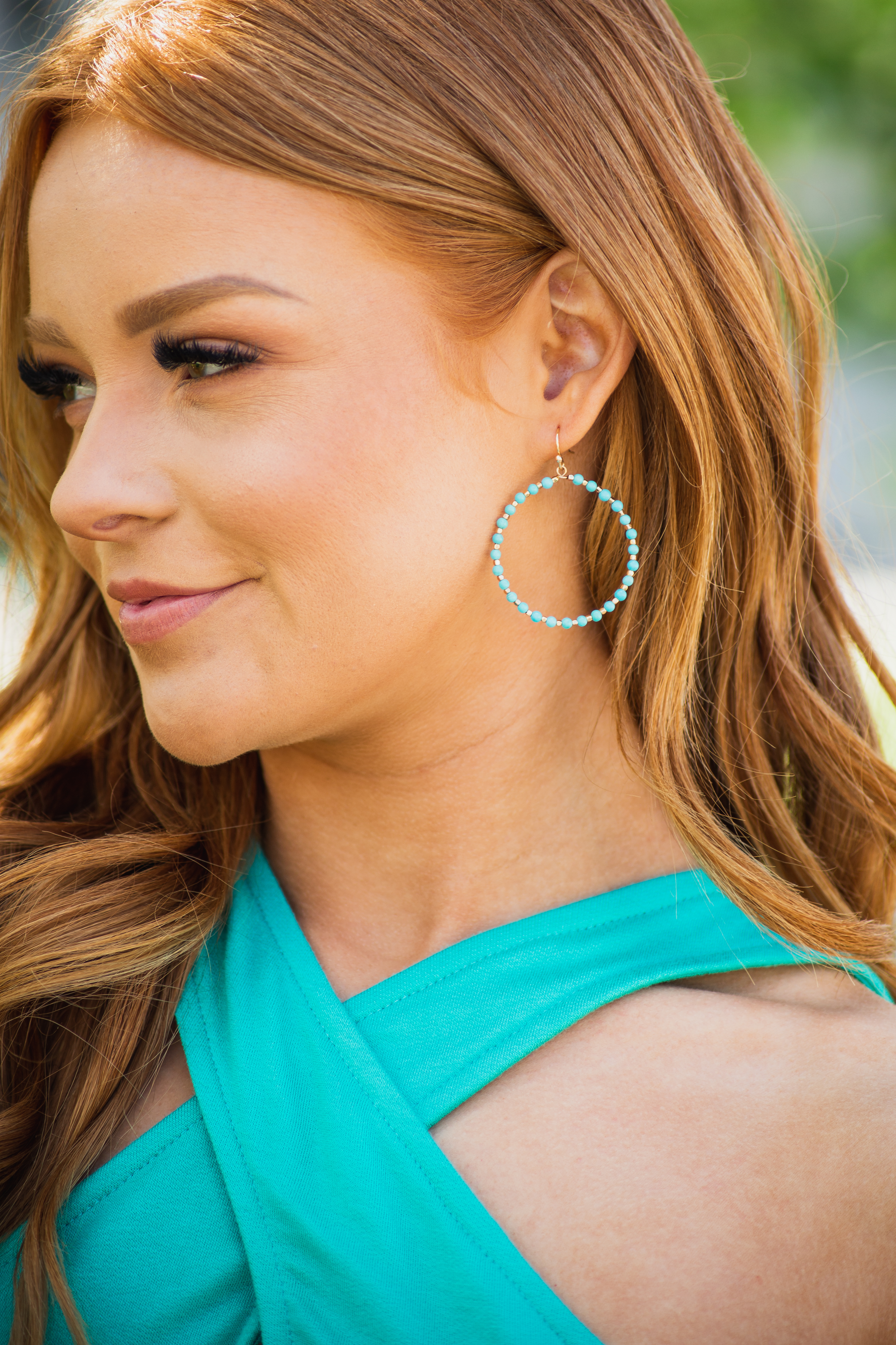 Turquoise Blue and Gold Beaded Dangle Hoop Earrings