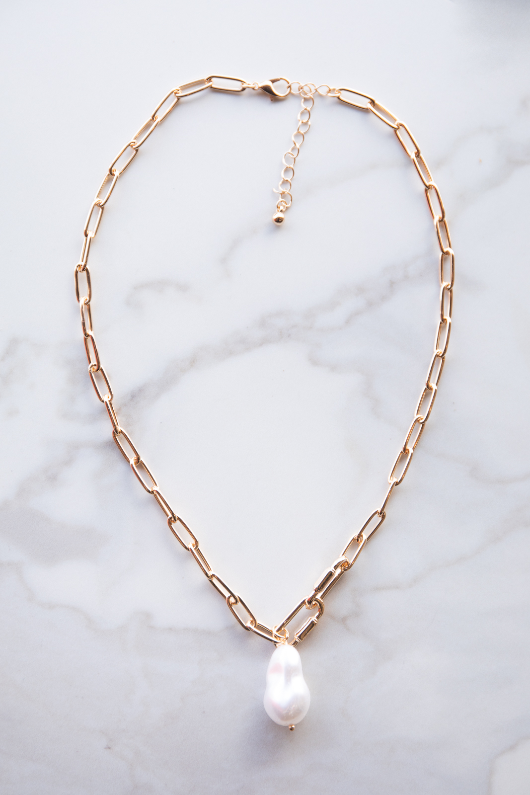 Gold Metallic Paperclip Chain Necklace with Pearl Pendant