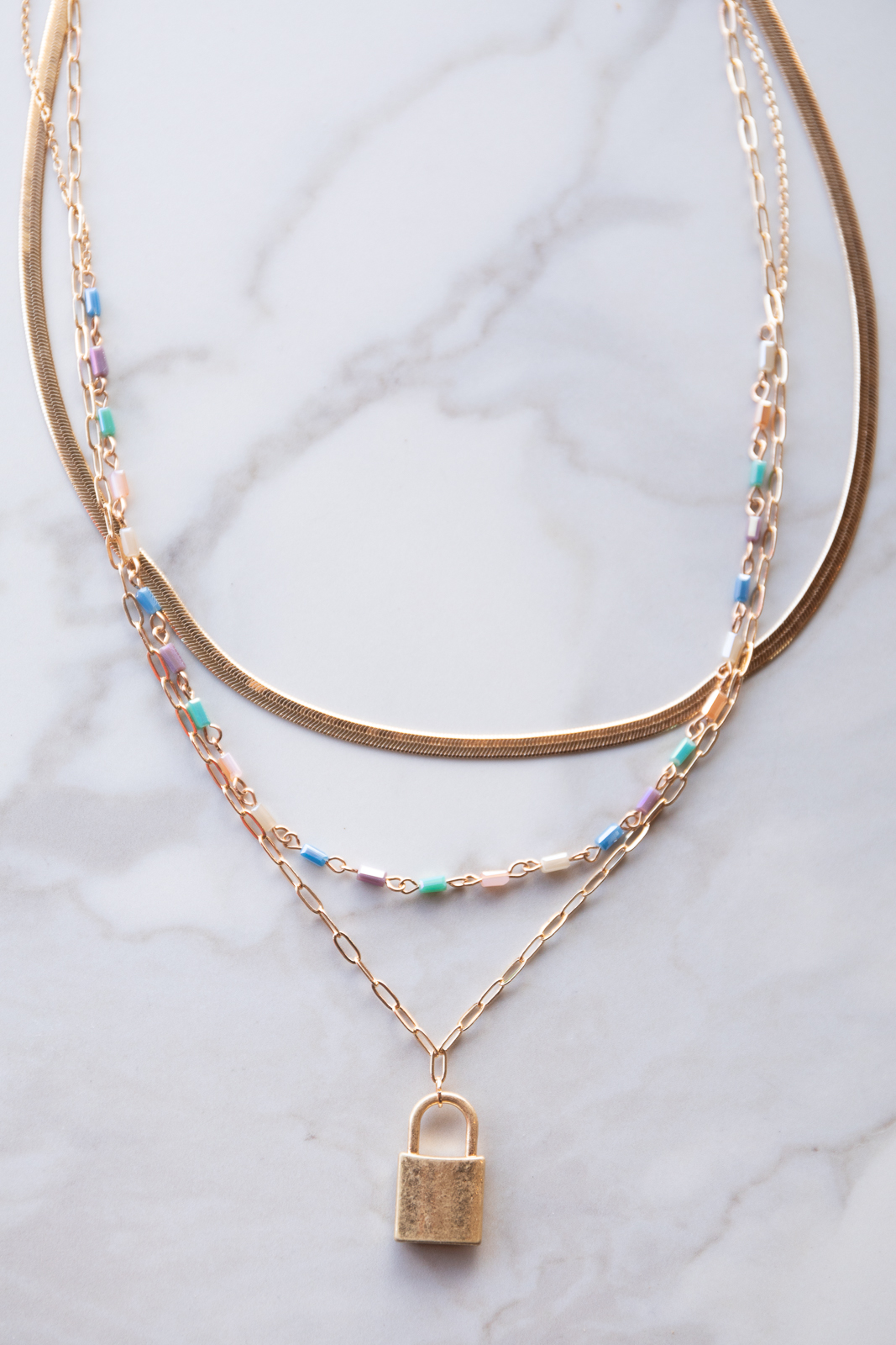 Gold Padlock Pendant 3 Chain Necklace with Multicolor Beads
