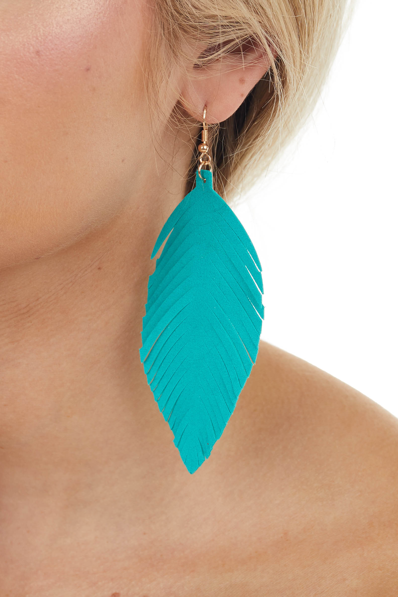 Teal Genuine Leather Feather Shaped Dangle Earrings